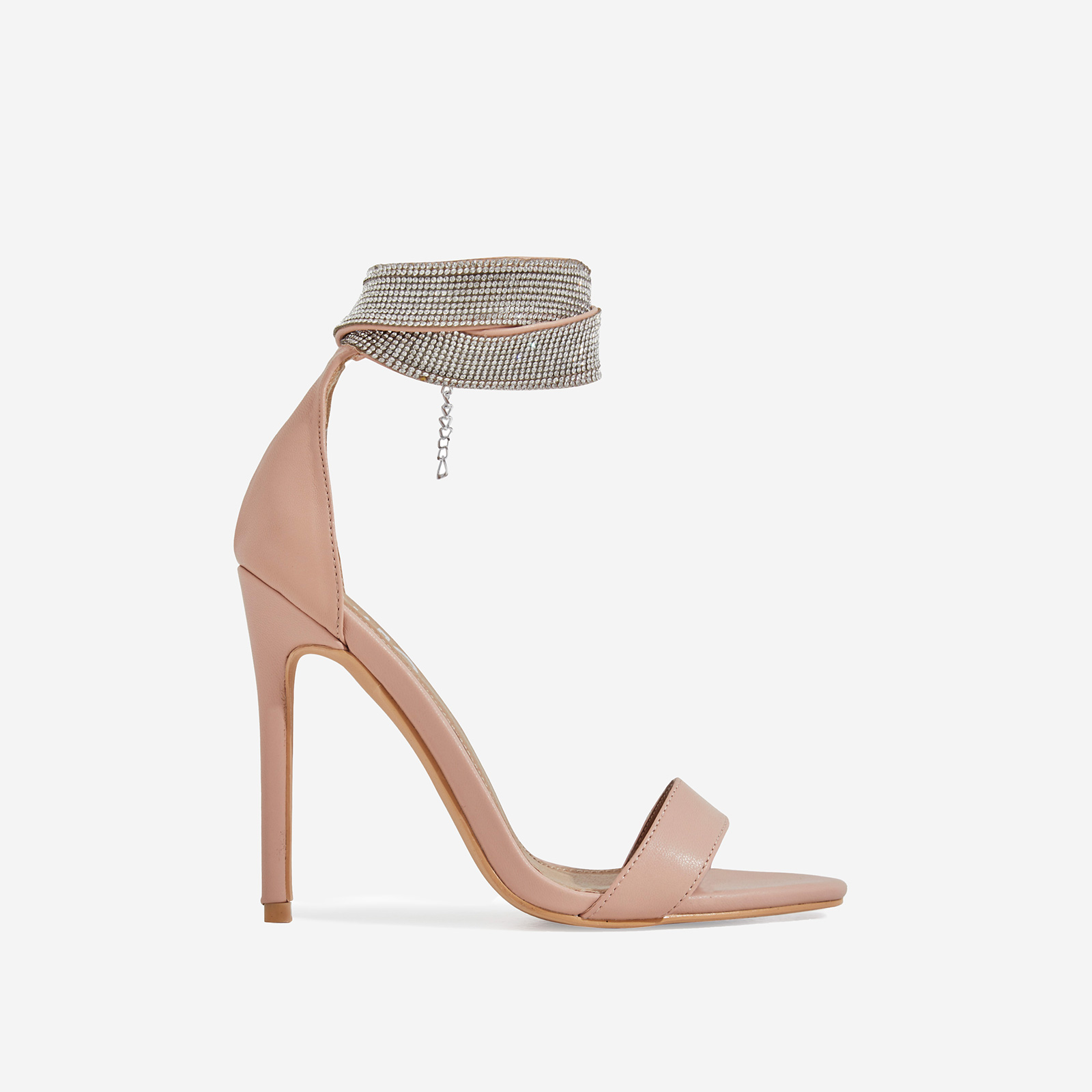 Nuri Diamante Detail Strap Heel In Nude Faux Leather