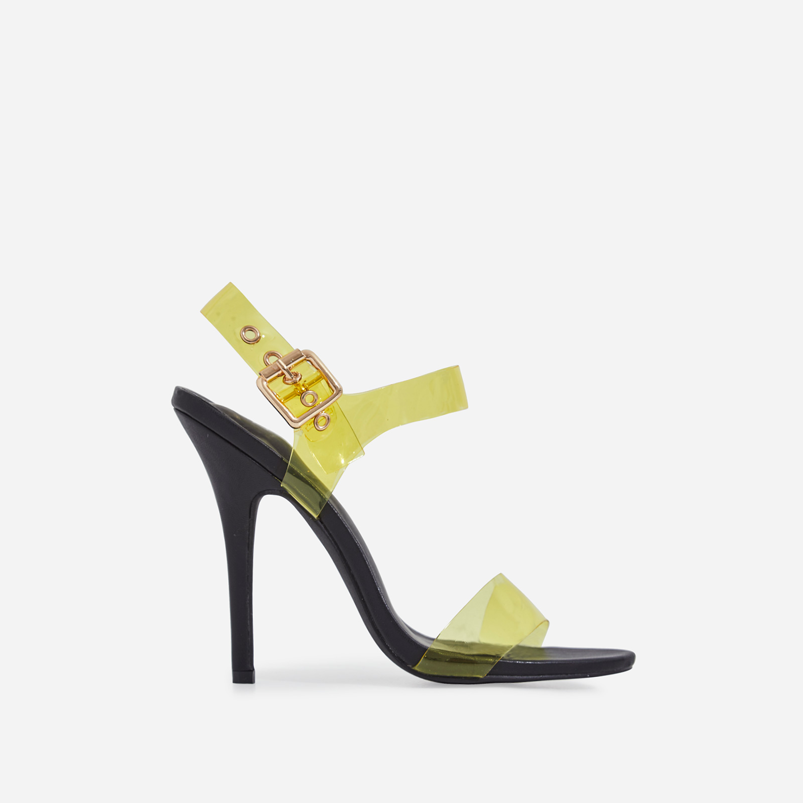 Opal Yellow Perspex Heel In Black Faux Leather
