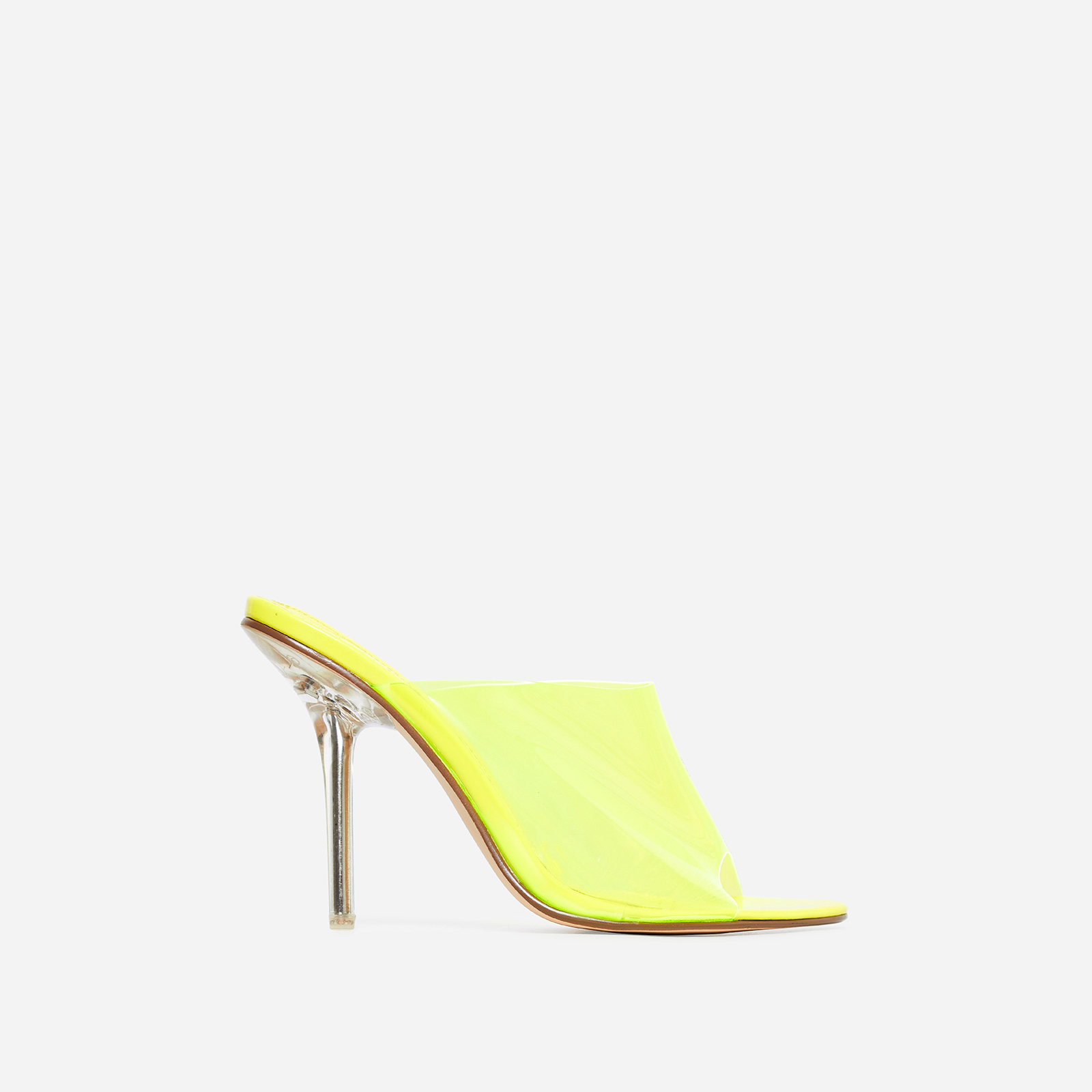 Paint Perspex Peep Toe Mule In Yellow Patent