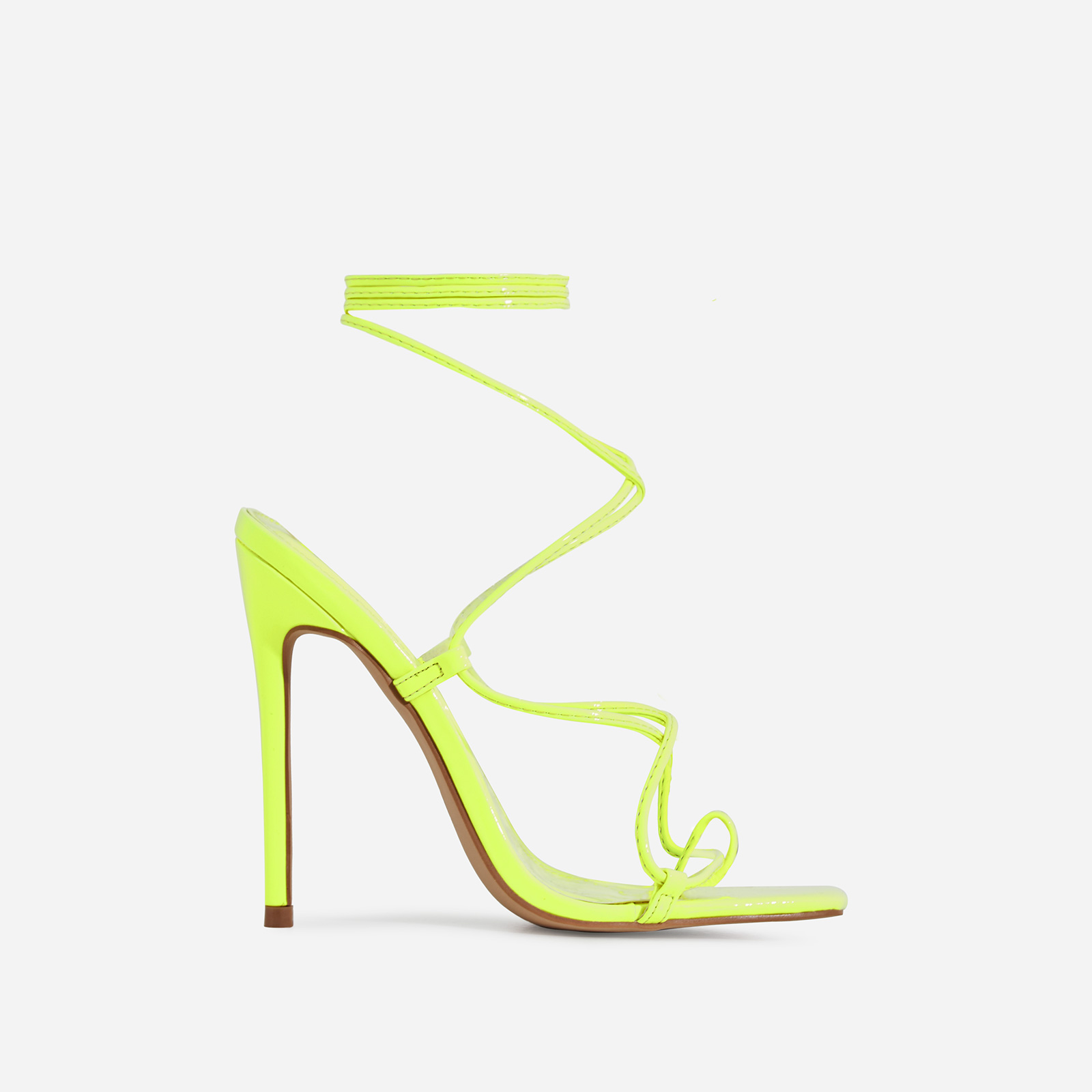 Paris Square Toe Lace Up Heel In Lime Green Patent