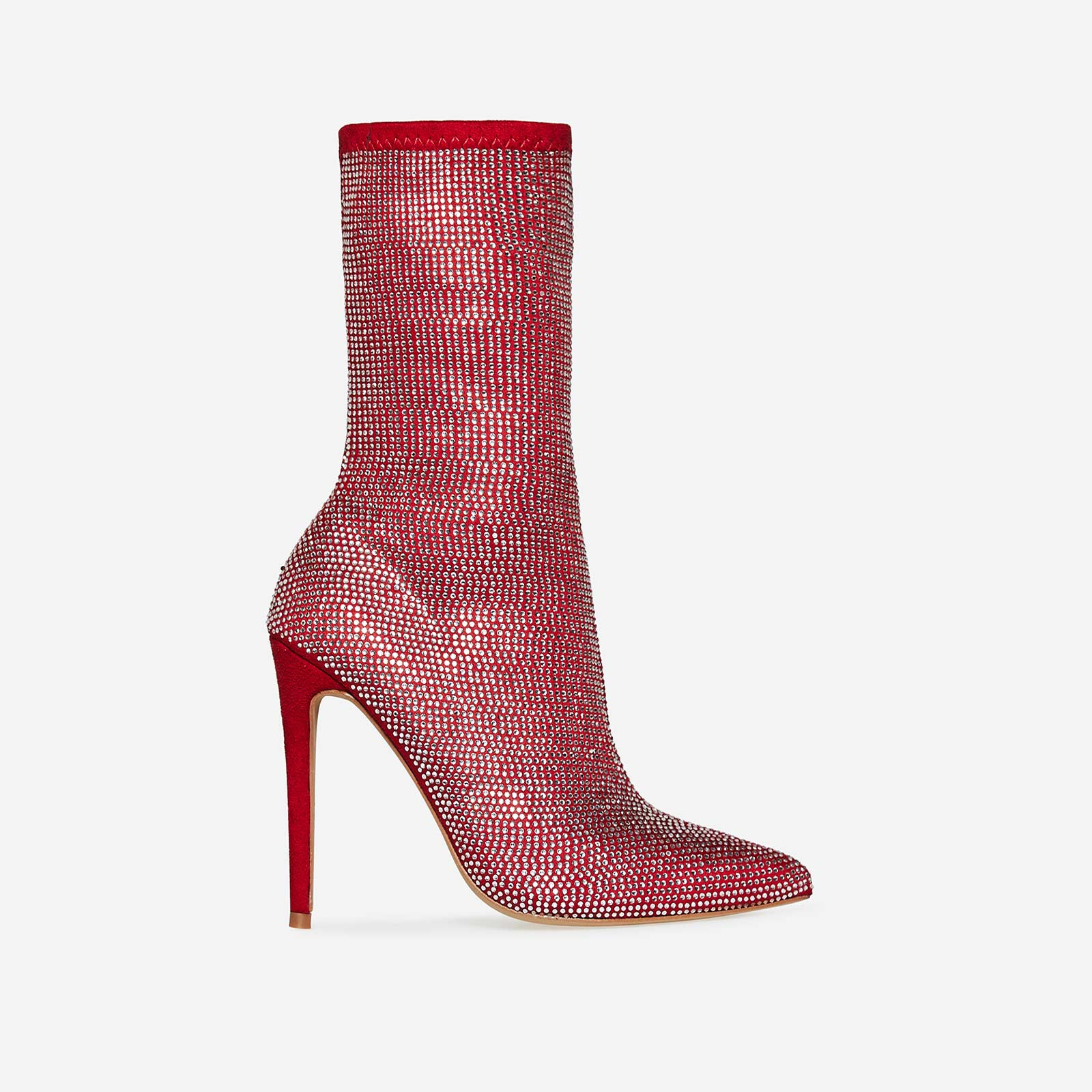 Paris Diamante Ankle Boot In Red Faux Suede