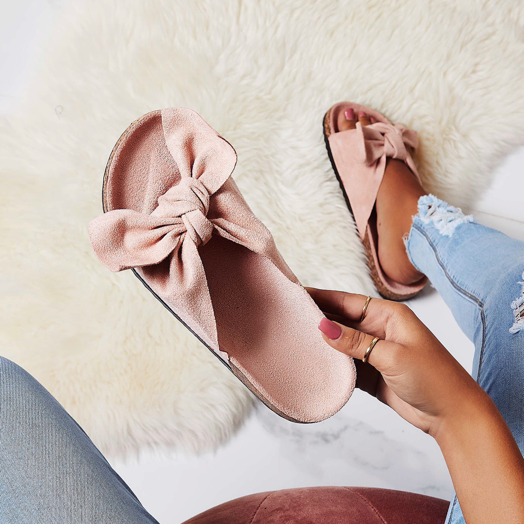 Paula Bow Detail Slider In Pink Faux Suede