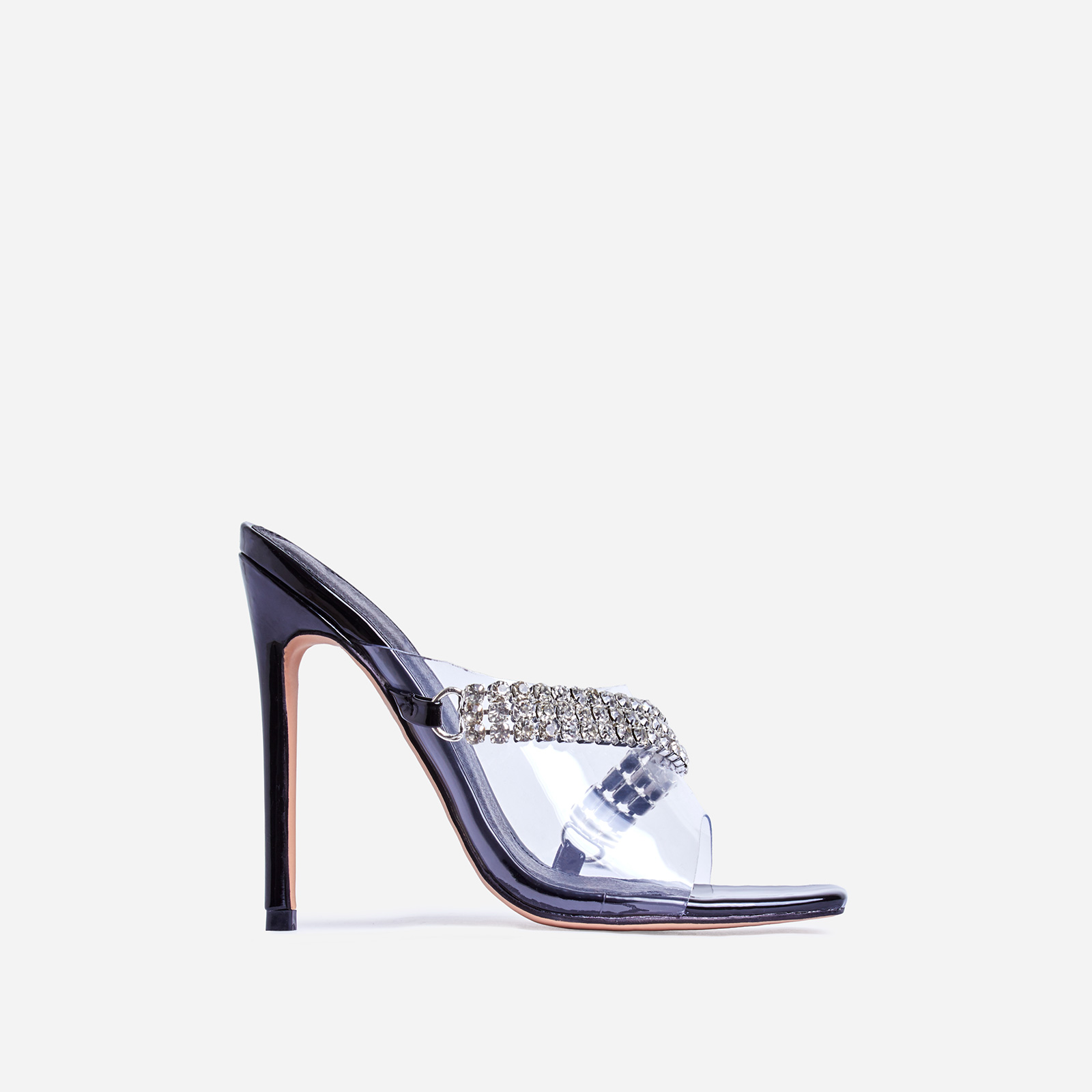 Peggy Diamante Detail  Square Peep Toe Heel Mule In Black Patent