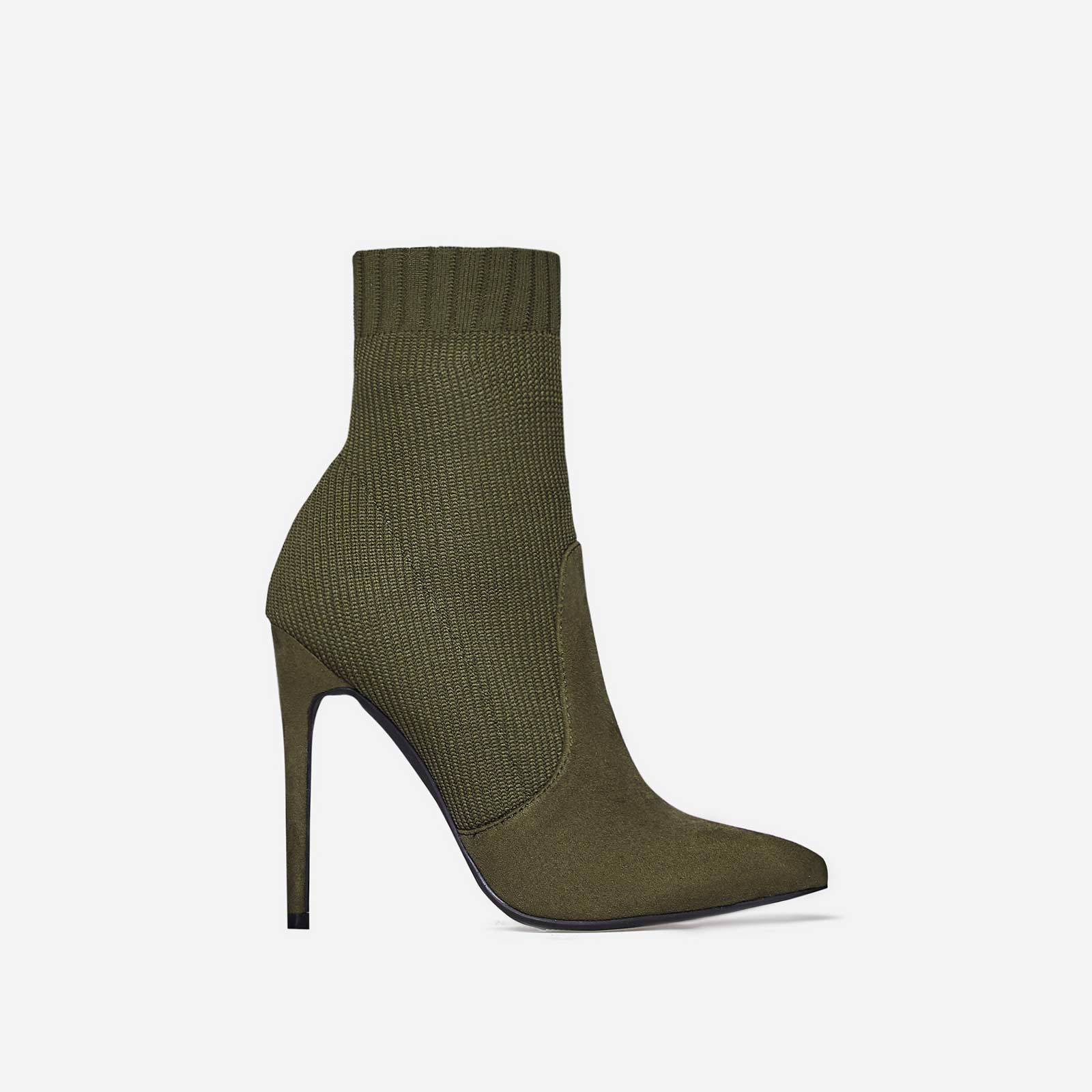 Phoenix Knitted Sock Boot In Khaki Faux Suede