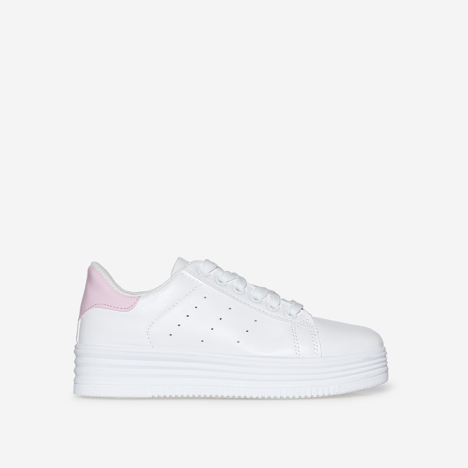 Horton Oversized Trainer With Pink Heel Tab In White Faux Leather