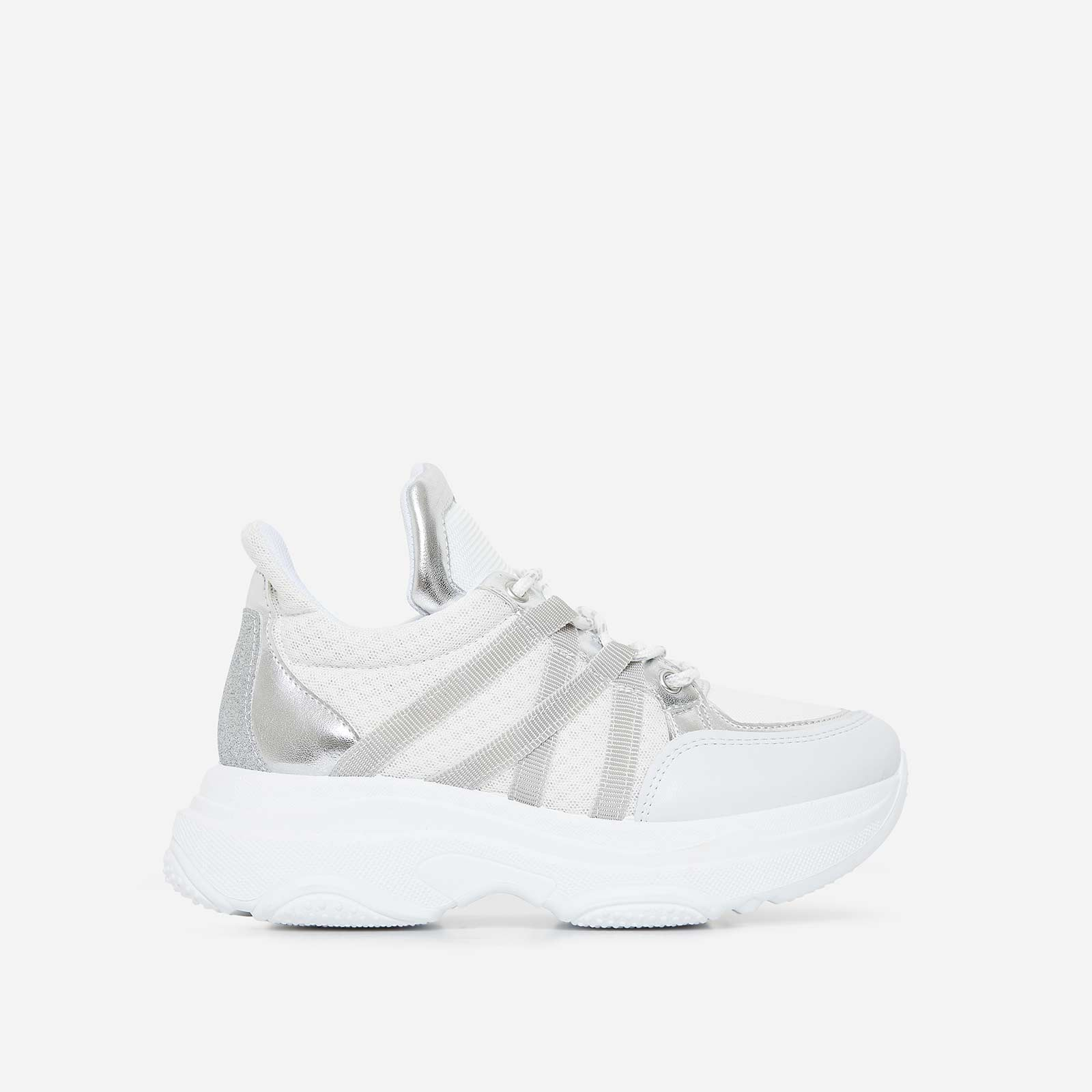 Pluto Chunky Trainer In White And Silver
