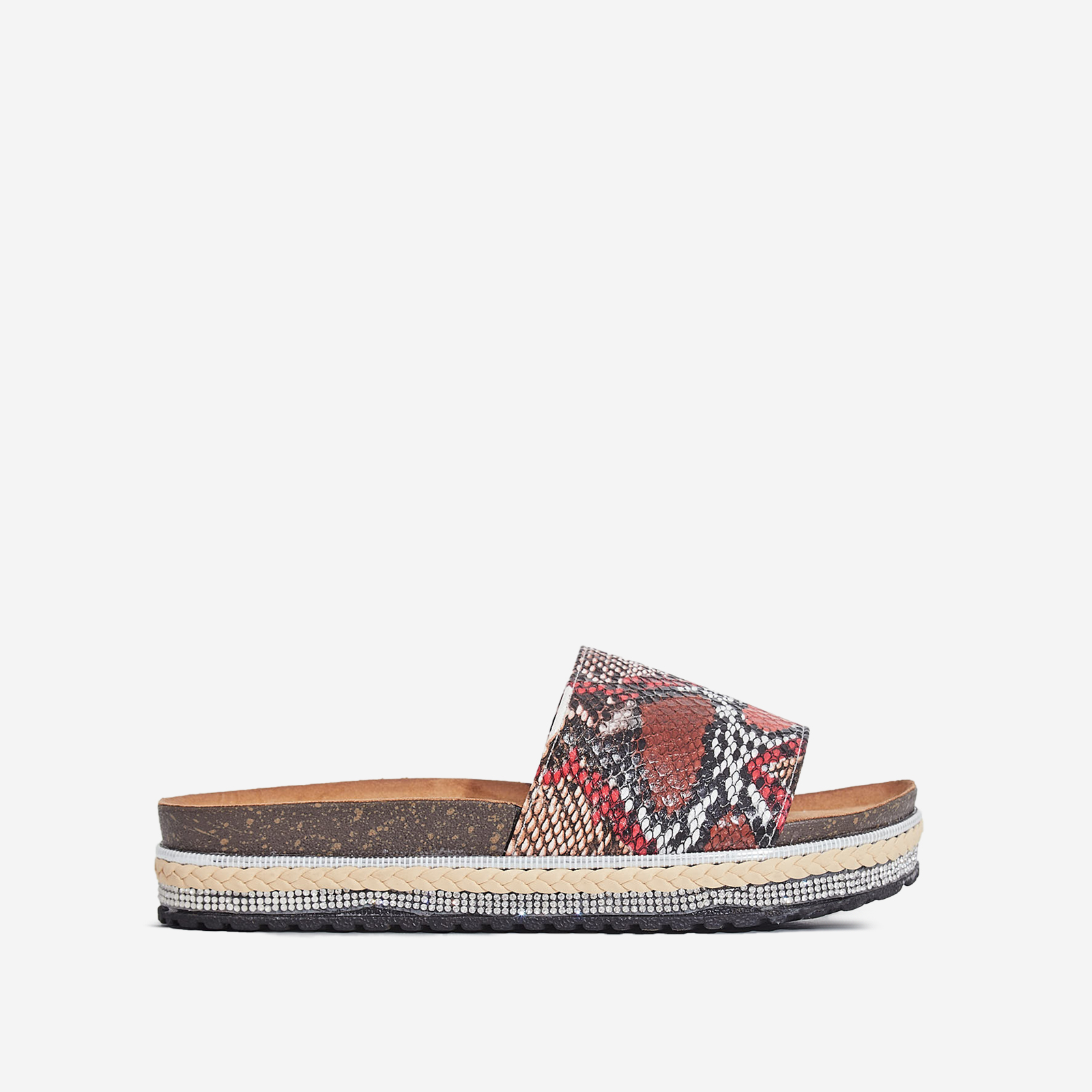 Calli Studded Detail Espadrille Sandal In Red Snake Print Faux Leather
