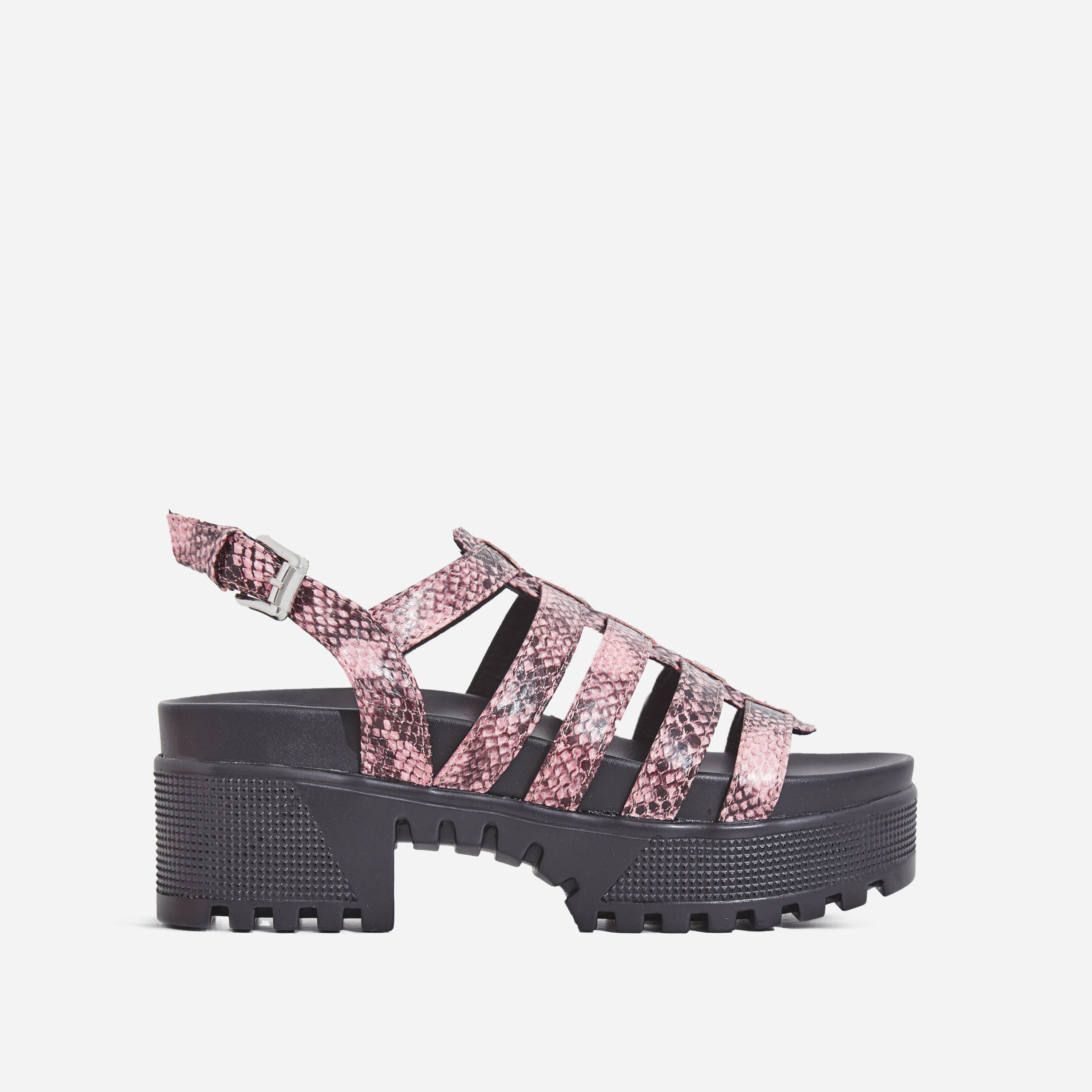 Poker Chunky Sole Sandal In Pink Snake Print Faux Leather