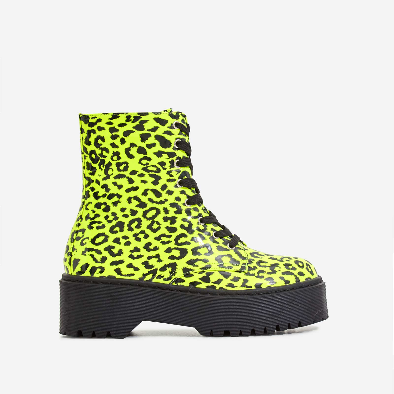 Poppin Lace Up Ankle Biker Boot In Neon Yellow Leopard Print Patent