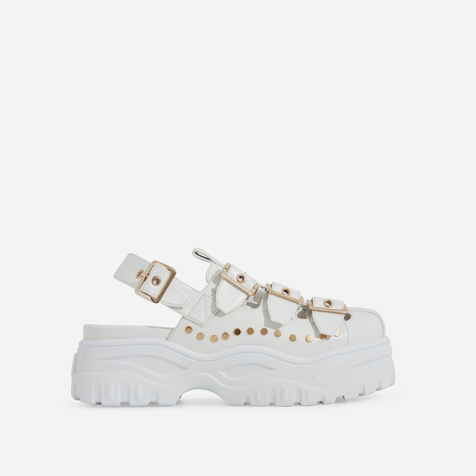 Poppy Buckle Detail Chunky Sole Sandal In White Faux Leather