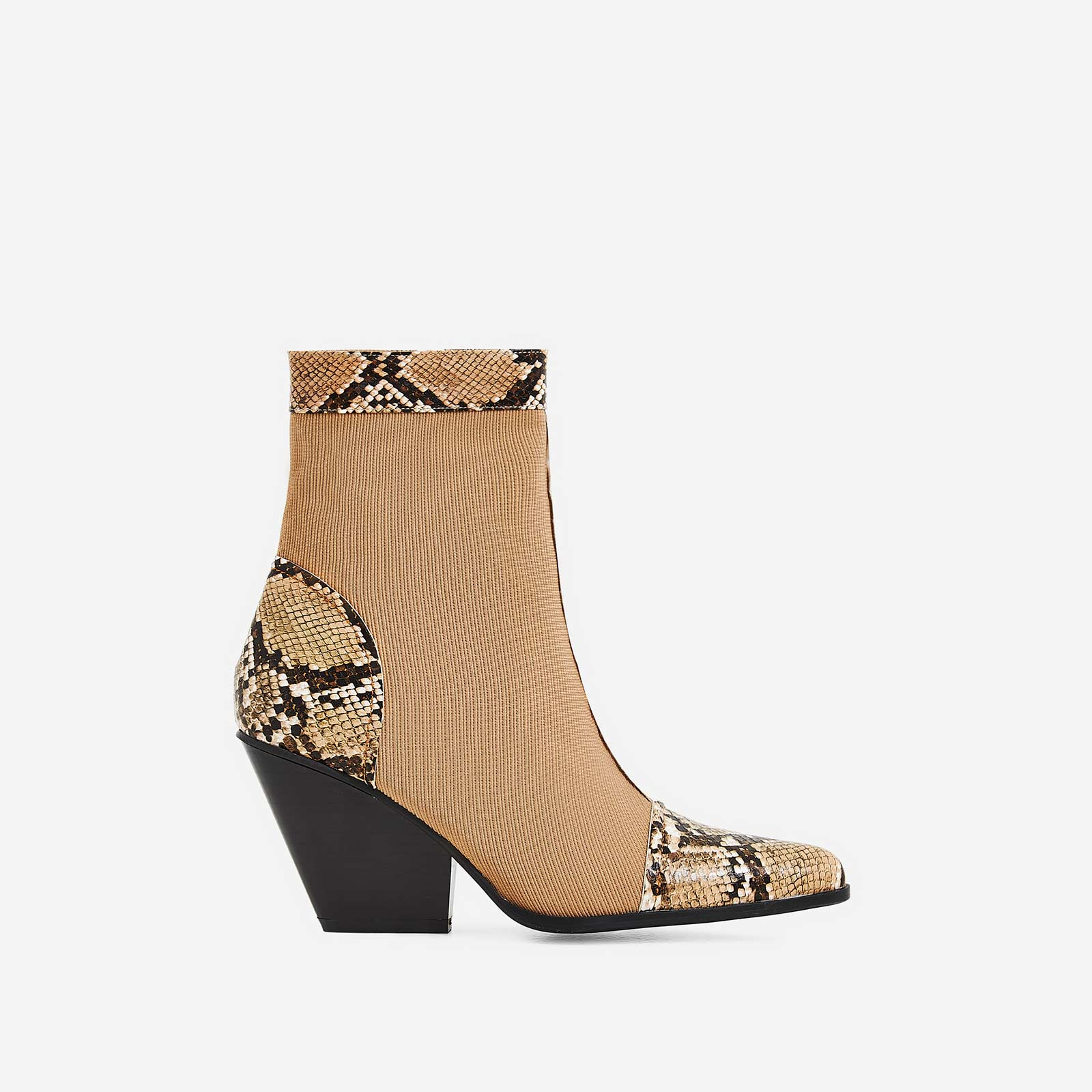 Racer Snake Print Detail Western Ankle Boot In Nude Knit