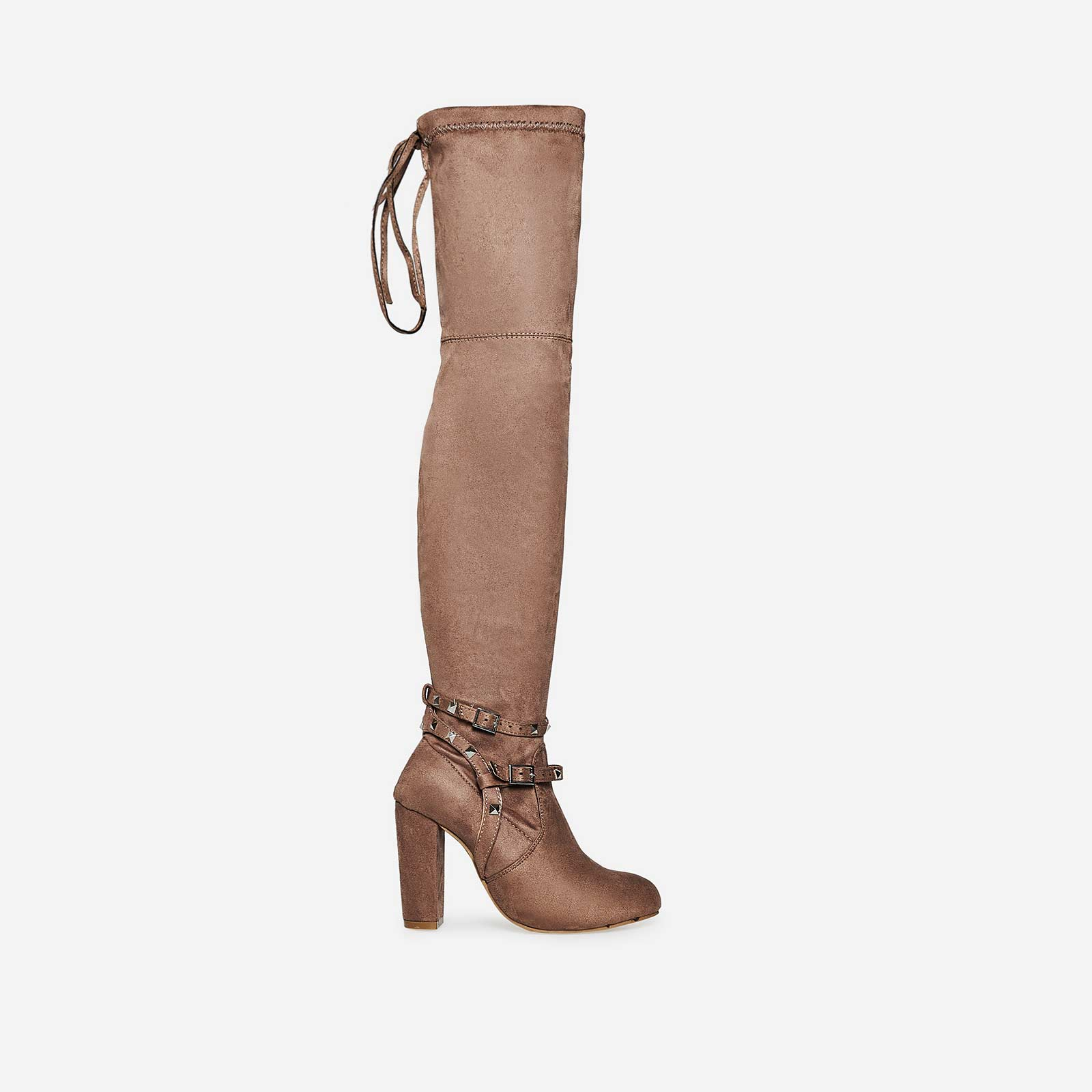 Bethany Studded Detail Long Boot In Mocha Faux Suede