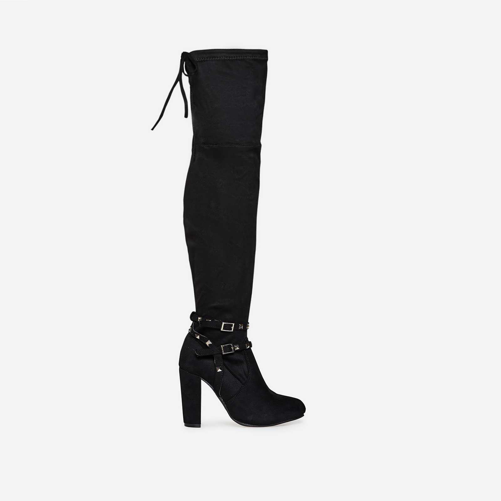 Bethany Studded Detail Long Boot In Black Faux Leather
