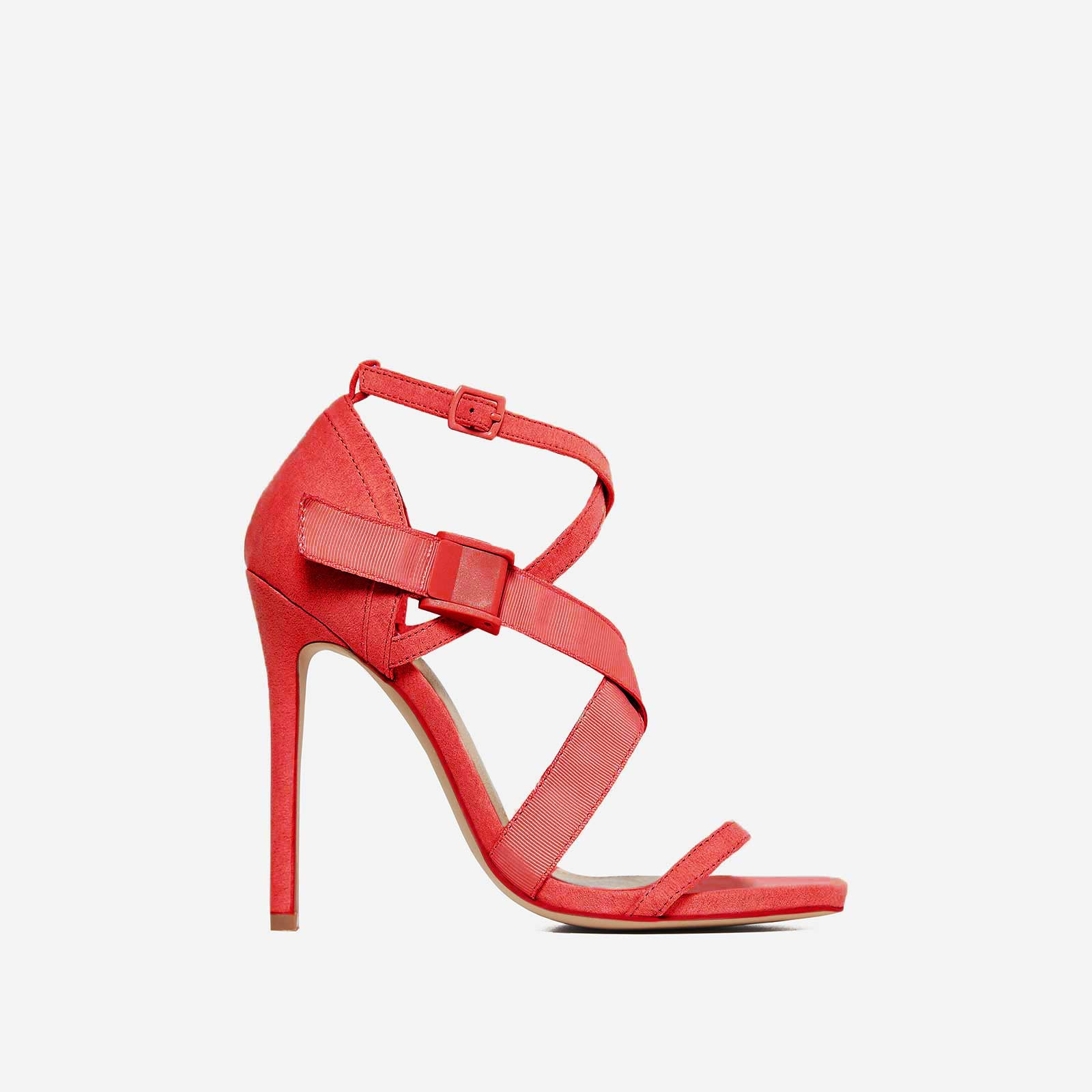 Rain Strappy Heel In Red Faux Suede