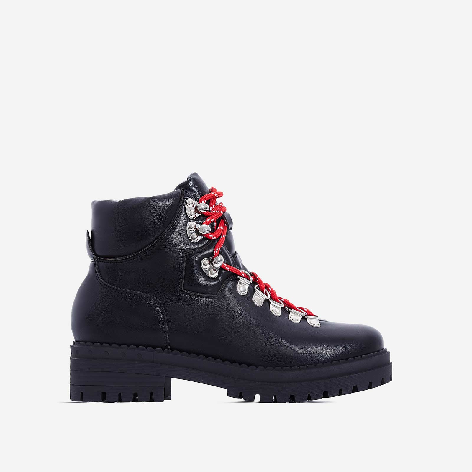 Raya Red Lace Up Ankle Biker Boot In Black Faux Leather