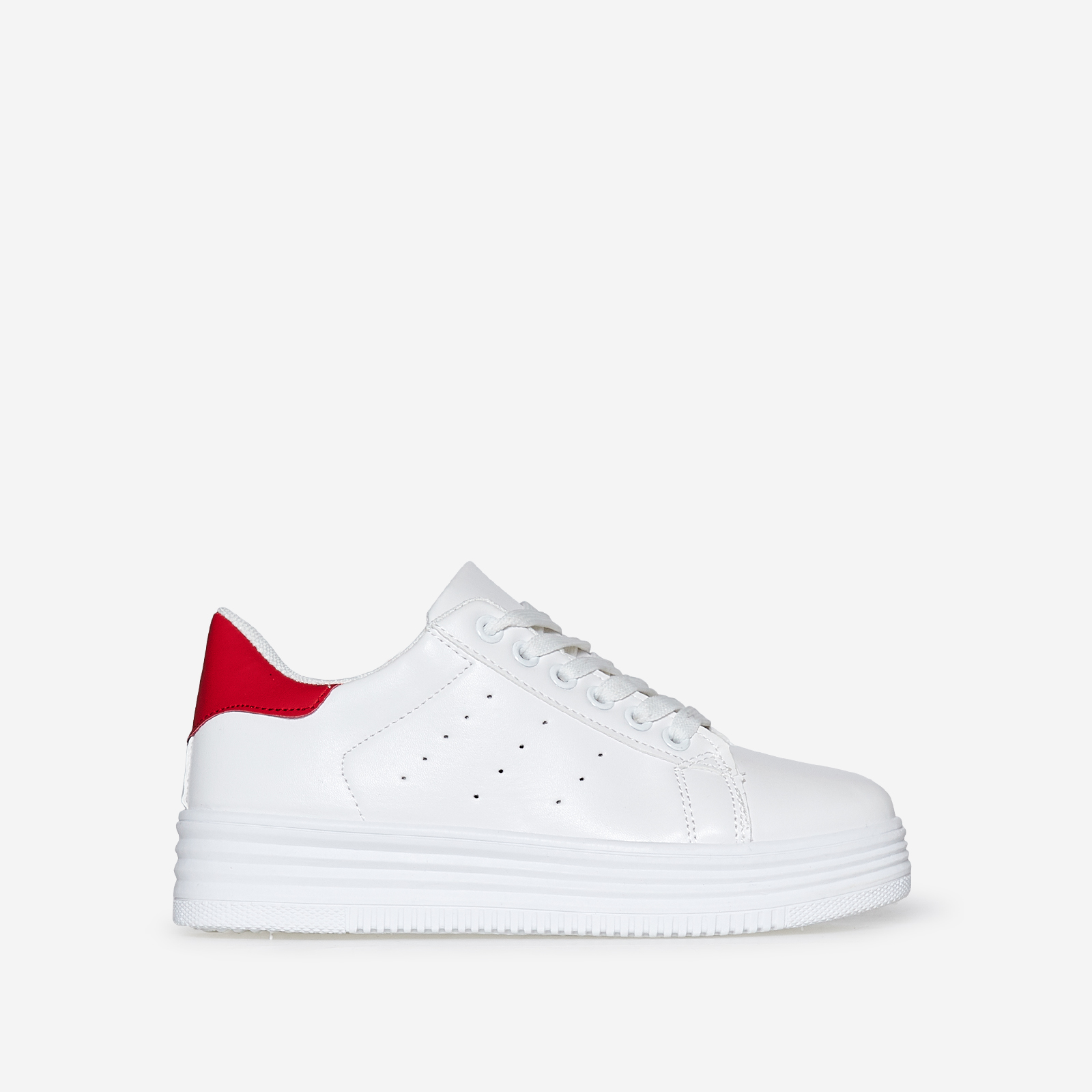 Horton Oversized Trainer With Red Heel Tab In White Faux Leather