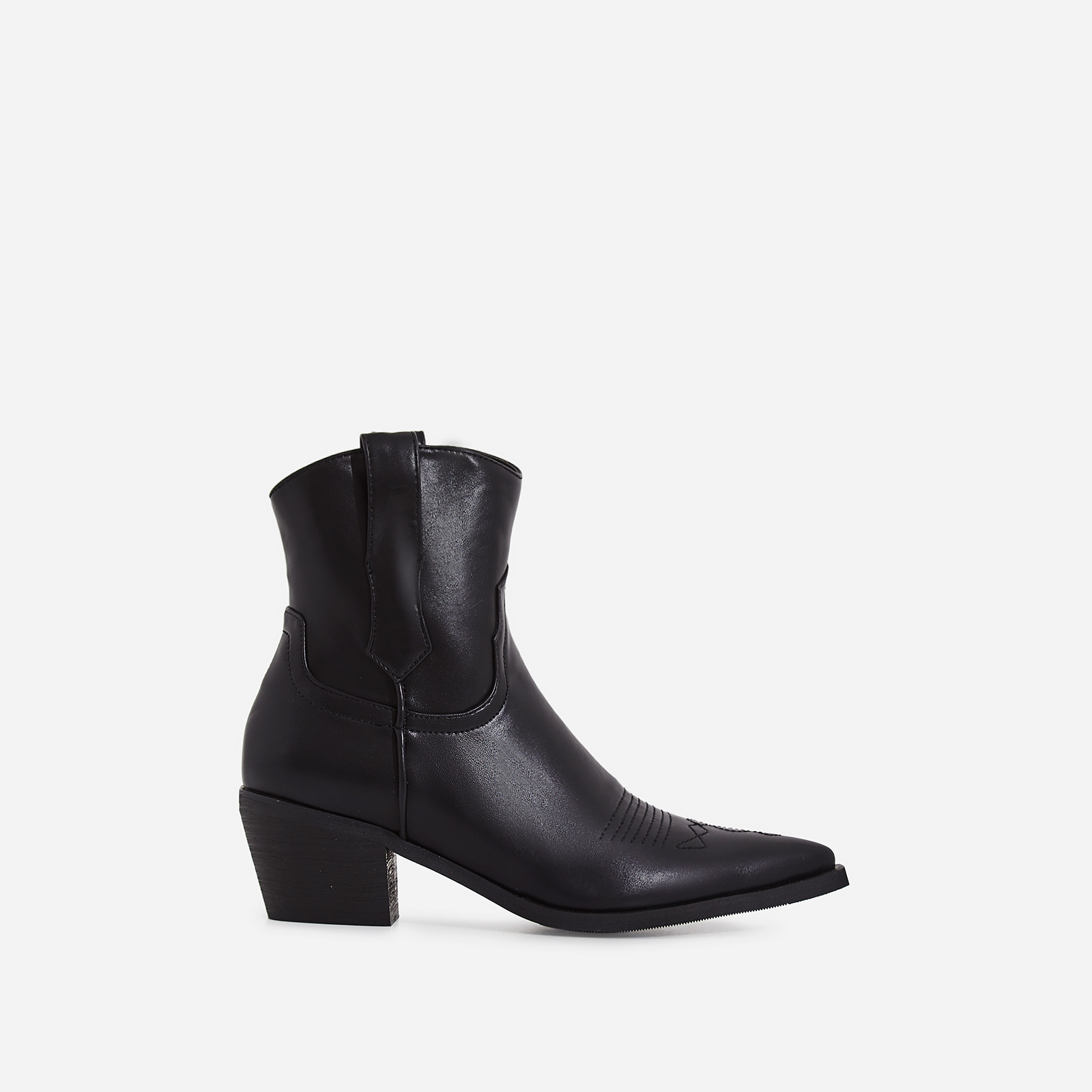 Reema Western Ankle Boot In Black Faux Leather