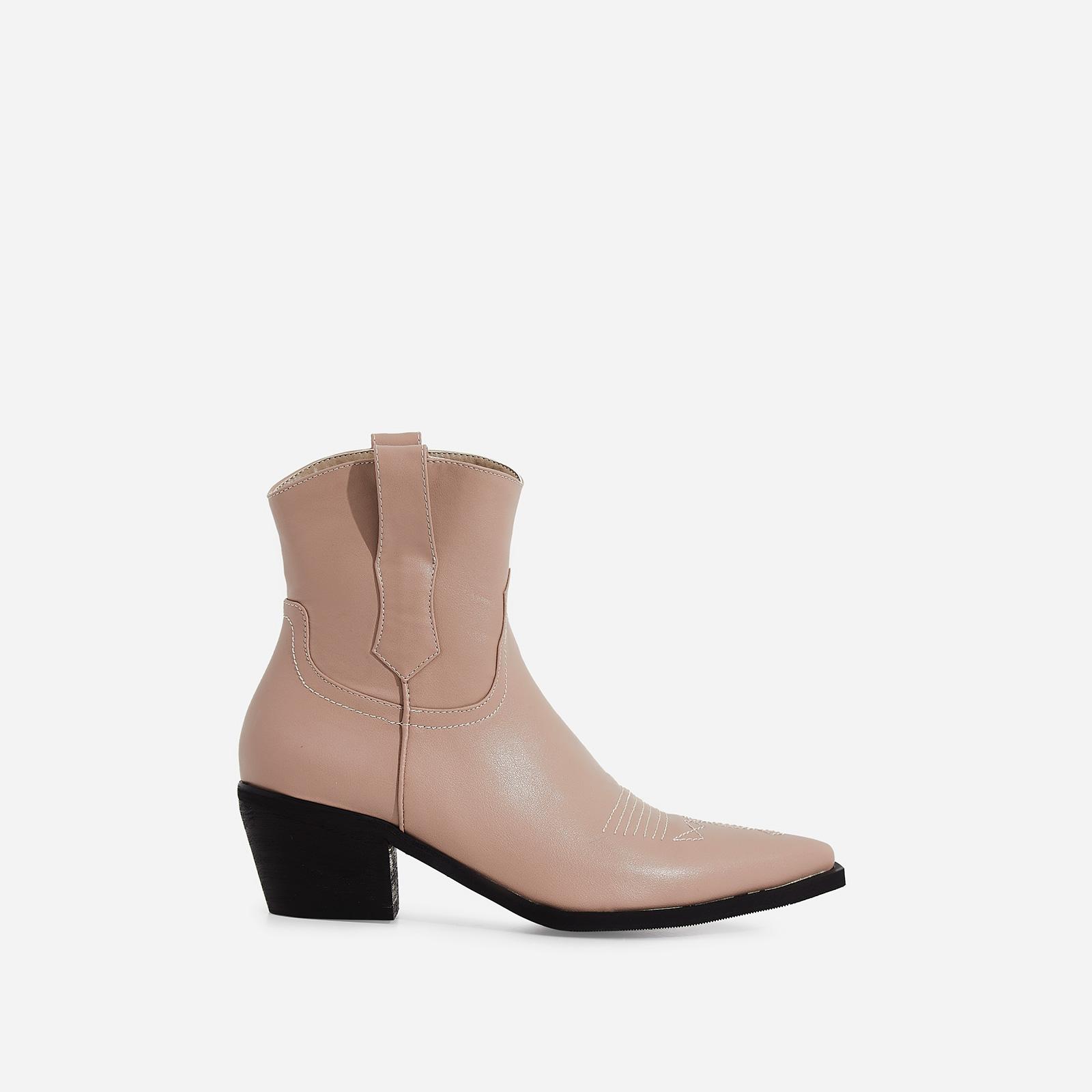 Reema Western Ankle Boot In Nude Faux Leather
