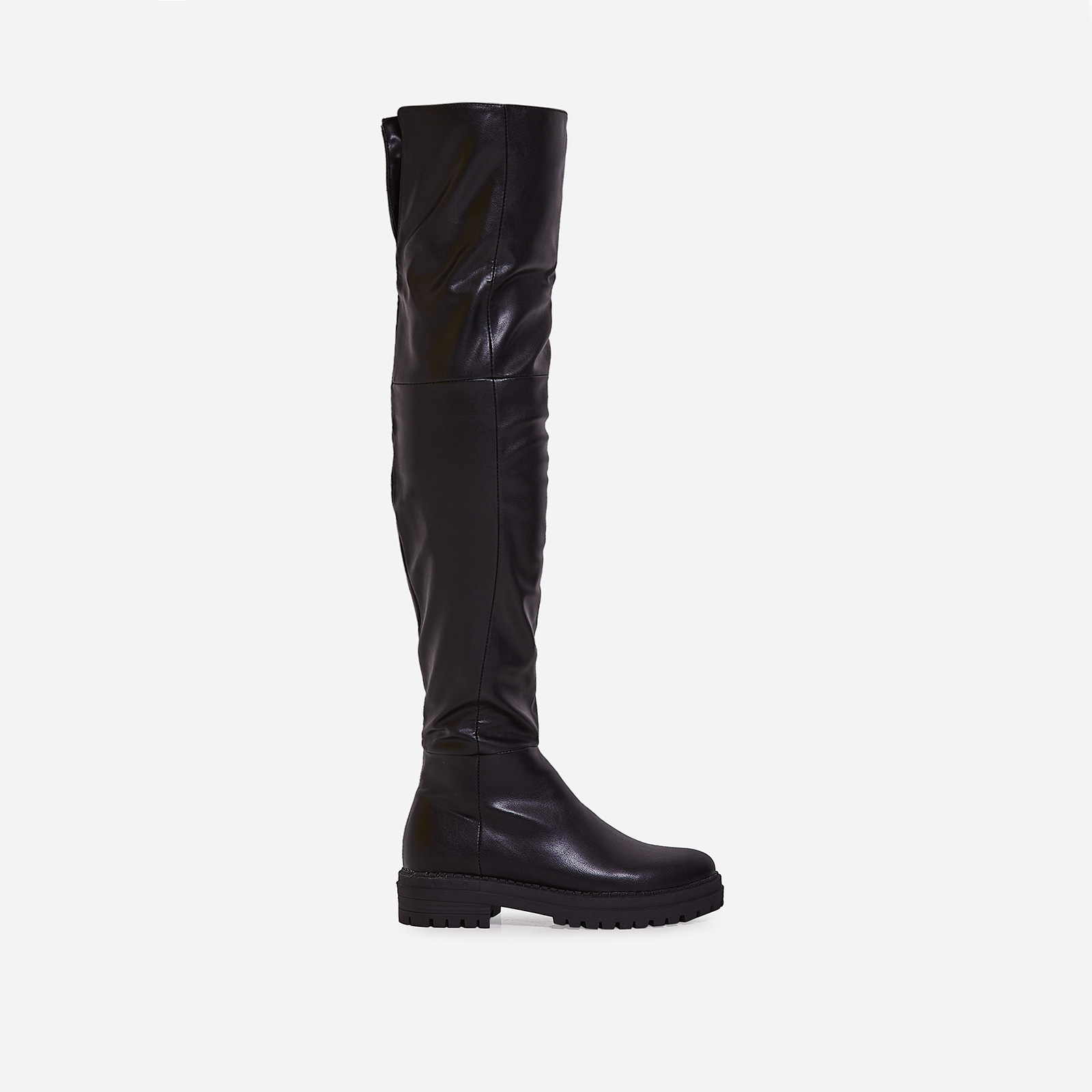 Rhi Over The Knee Long Boot In Black Faux Leather