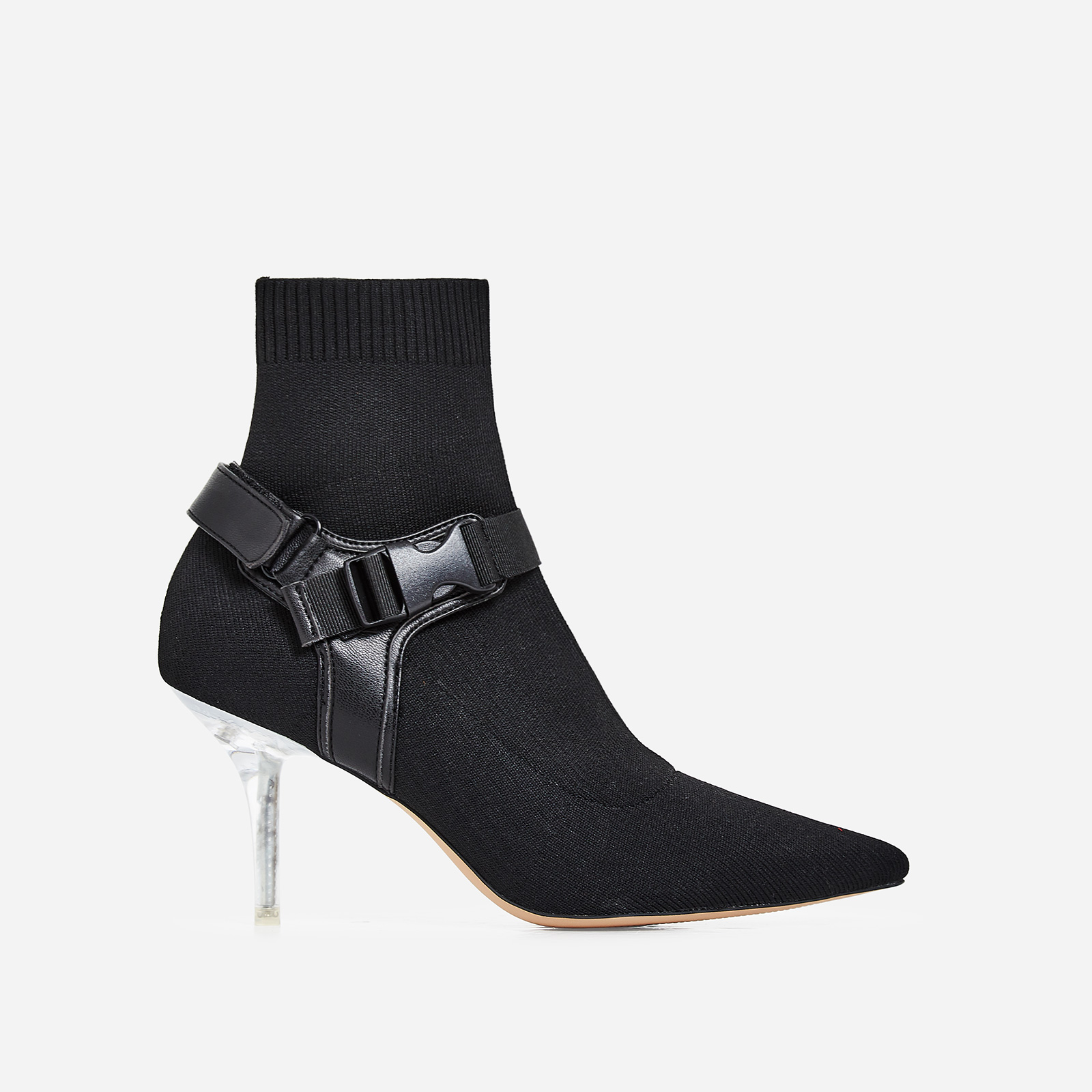 Rhian Perspex Buckle Detail Ankle Sock Boot In Black Knit