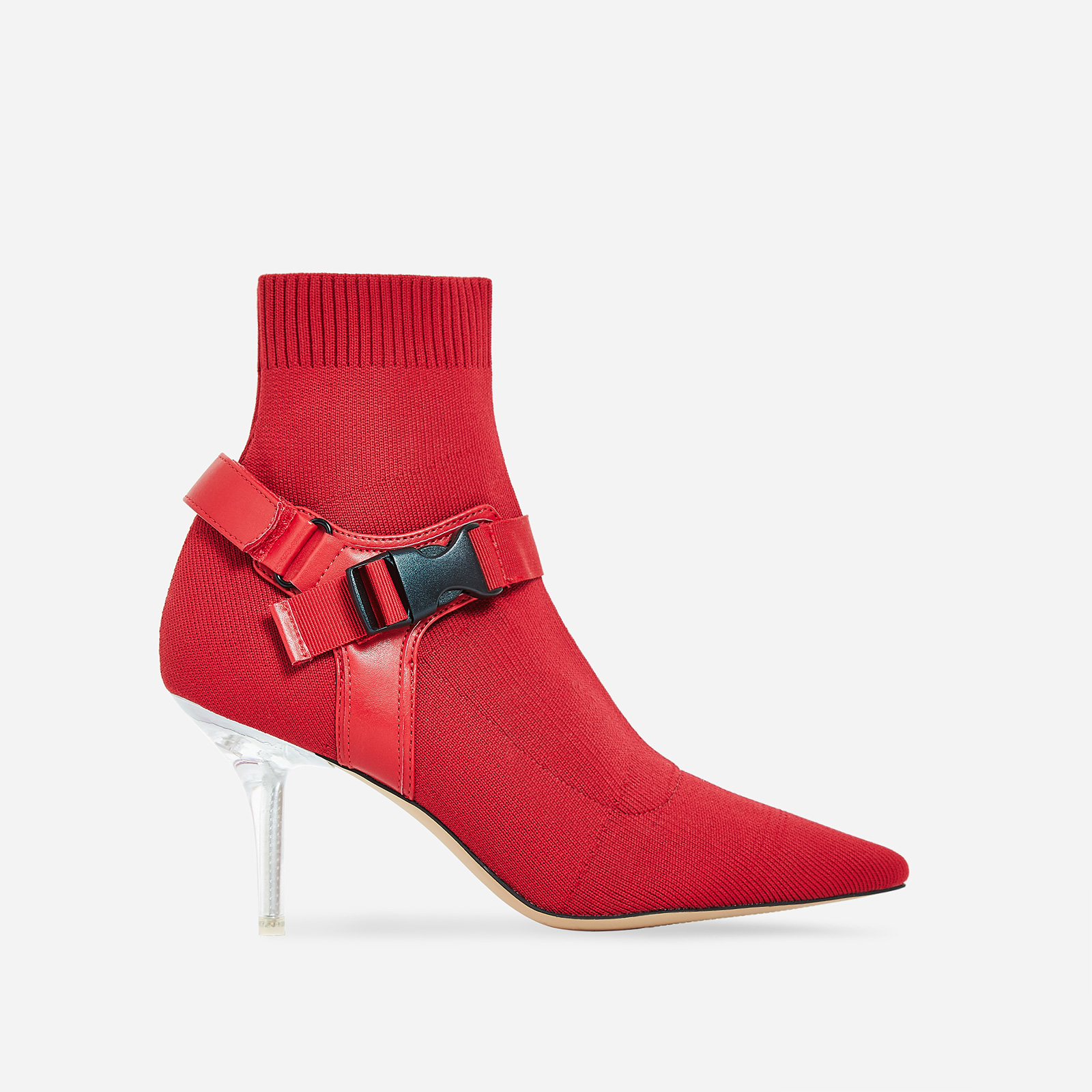 Rhian Perspex Buckle Detail Ankle Sock Boot In Red Knit