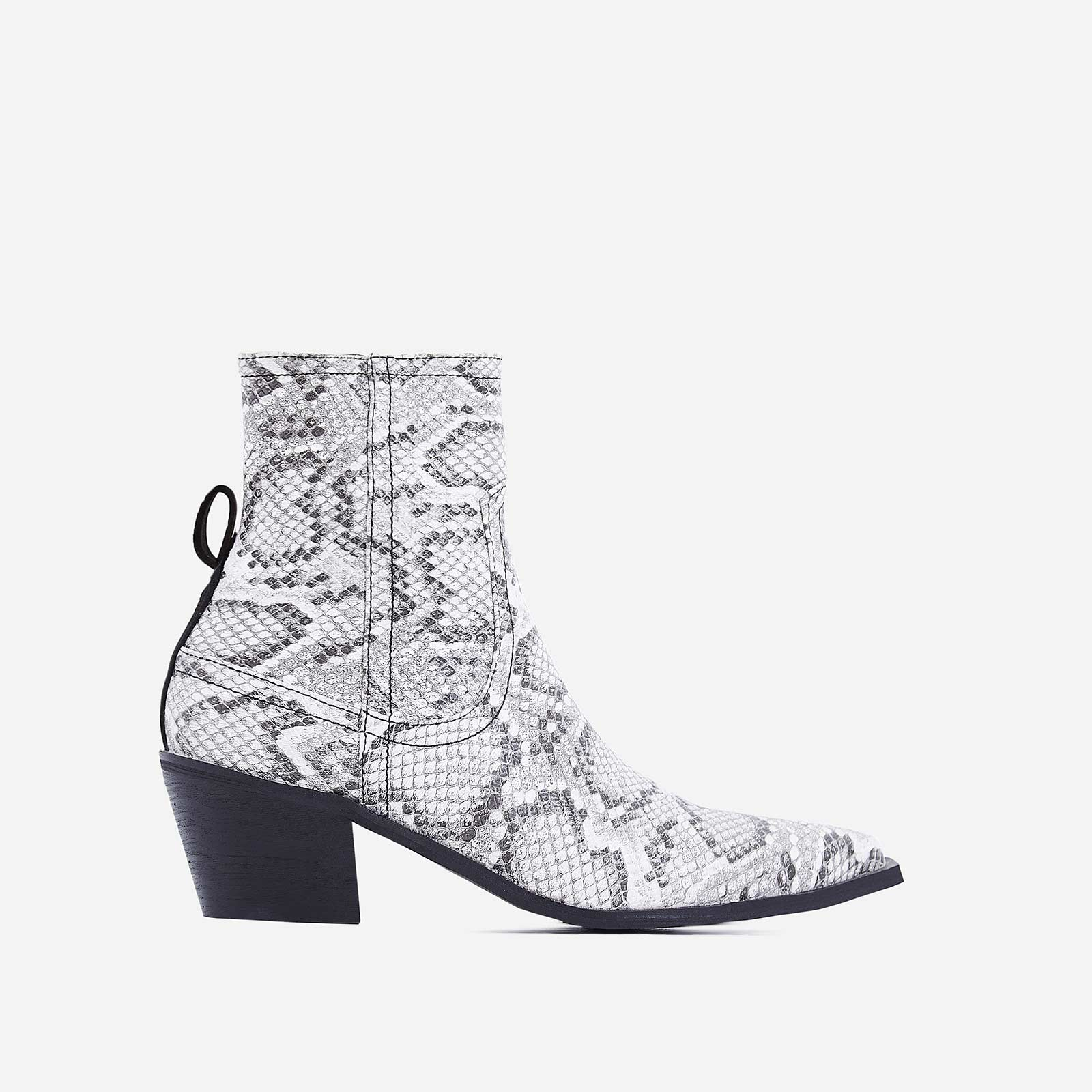 Rishi Western Ankle Boot In Grey Snake Print Faux Leather
