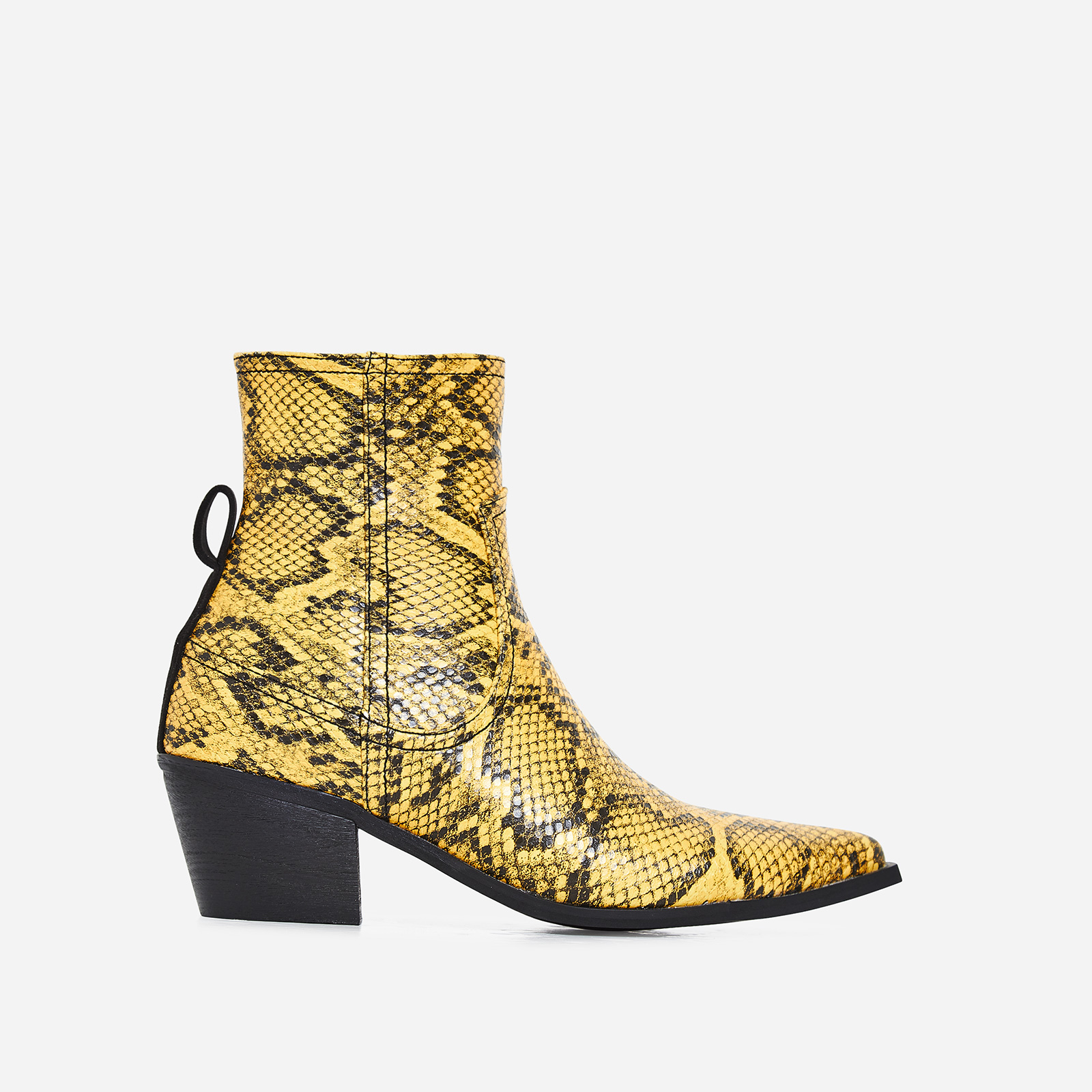 Rishi Western Ankle Boot In Yellow Snake Print Faux Leather
