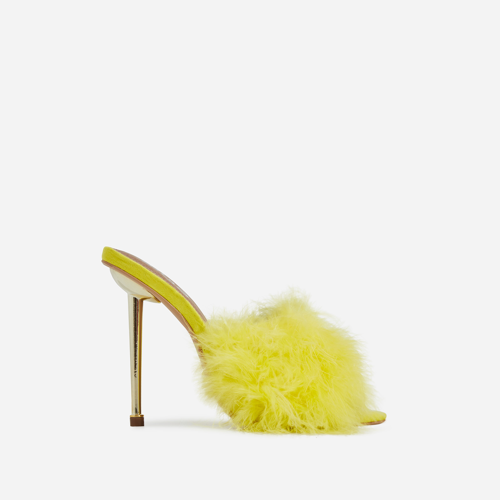 Risky Faux Feather Pointed Toe Heel Mule In Yellow Faux Suede