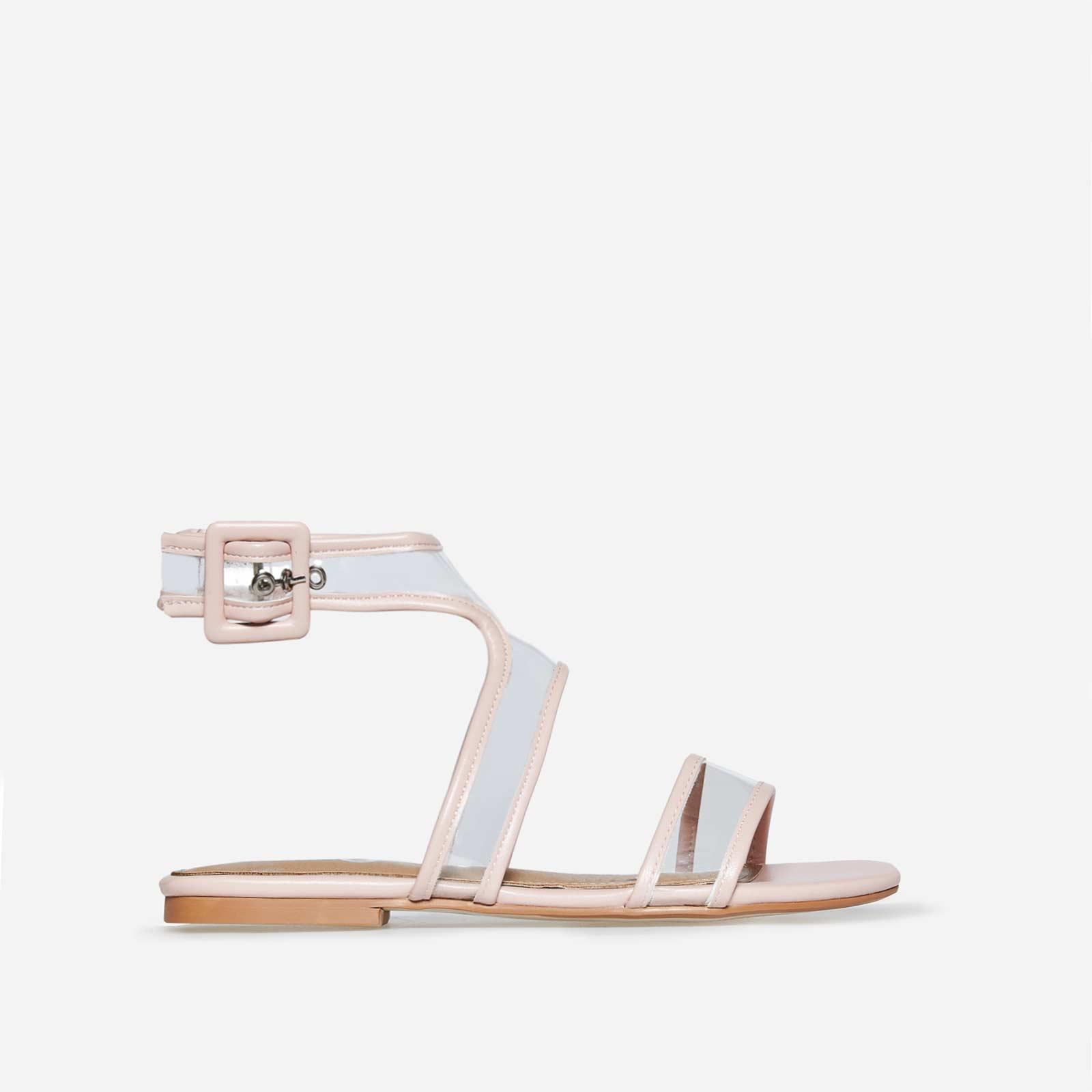 Rita Perspex Sandal In Pink Faux Leather