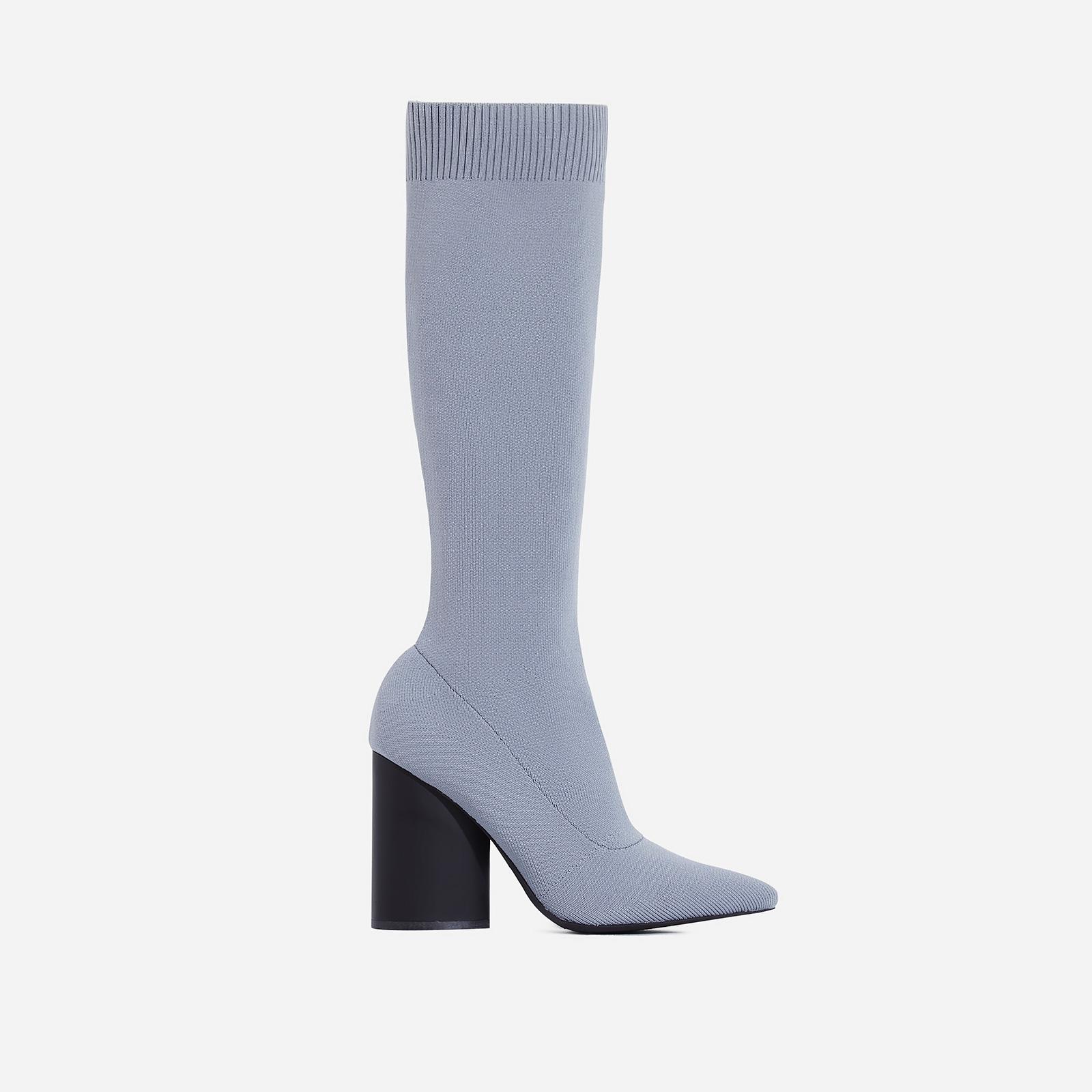 Rocco Block Heel Ankle Sock Boot In Grey Knit