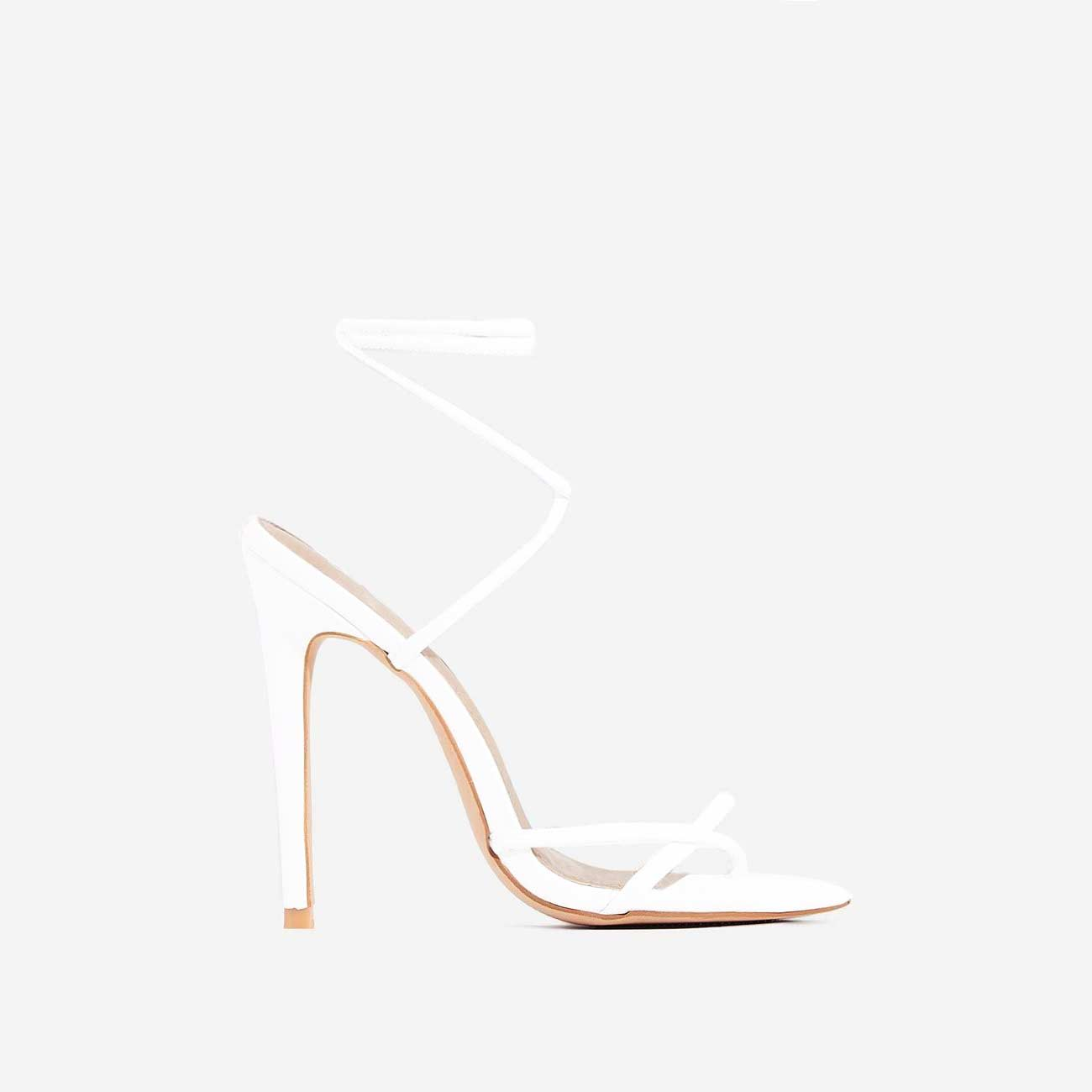 Rochelle Lace Up Barely There Heel In White Faux Leather