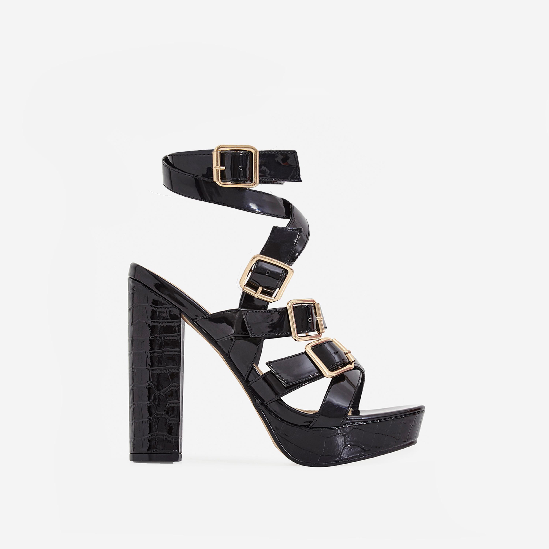 Romee Buckle Detail Platform Block Heel In Black Patent