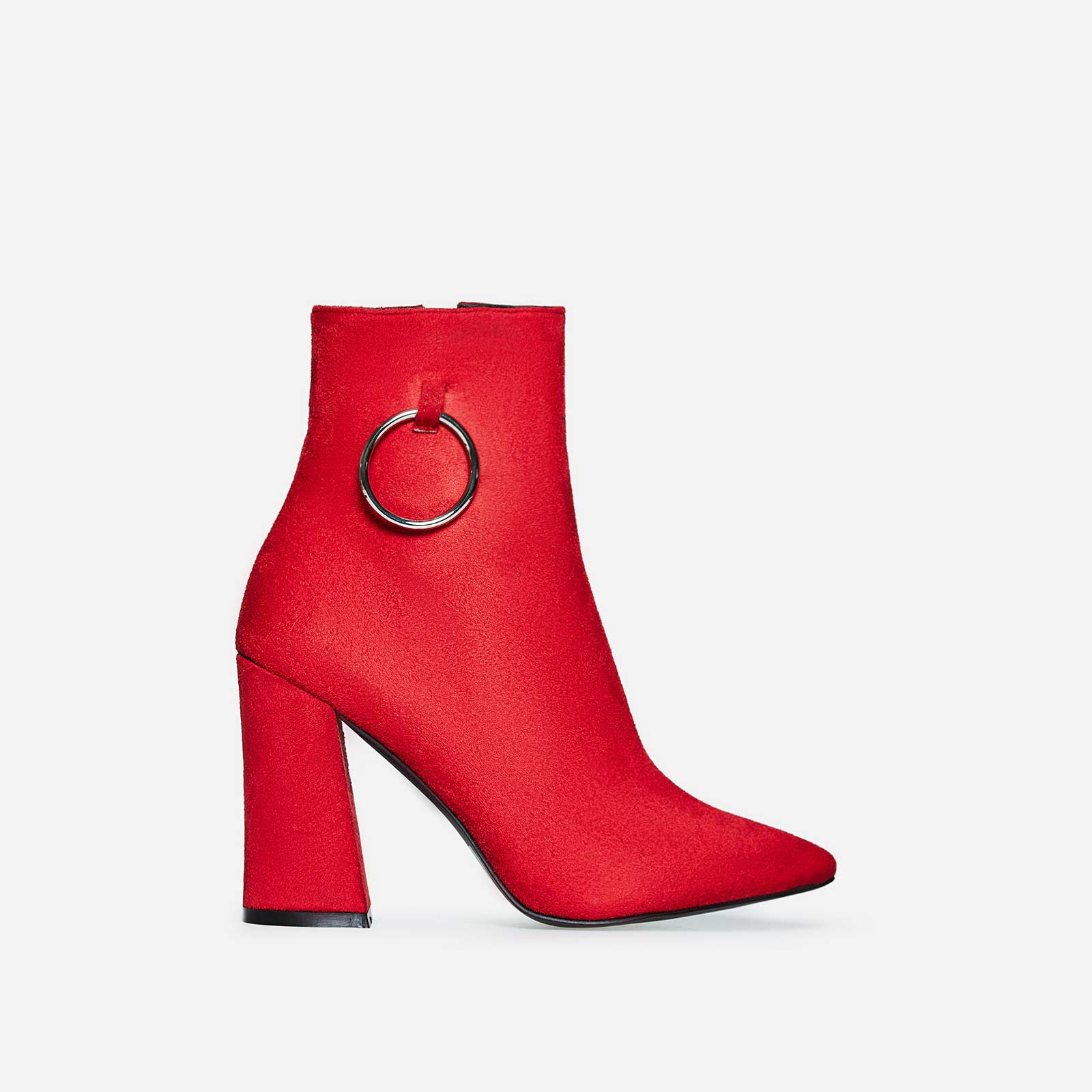 Ruben Pull Ring Detail Ankle Boot In Red Faux Suede