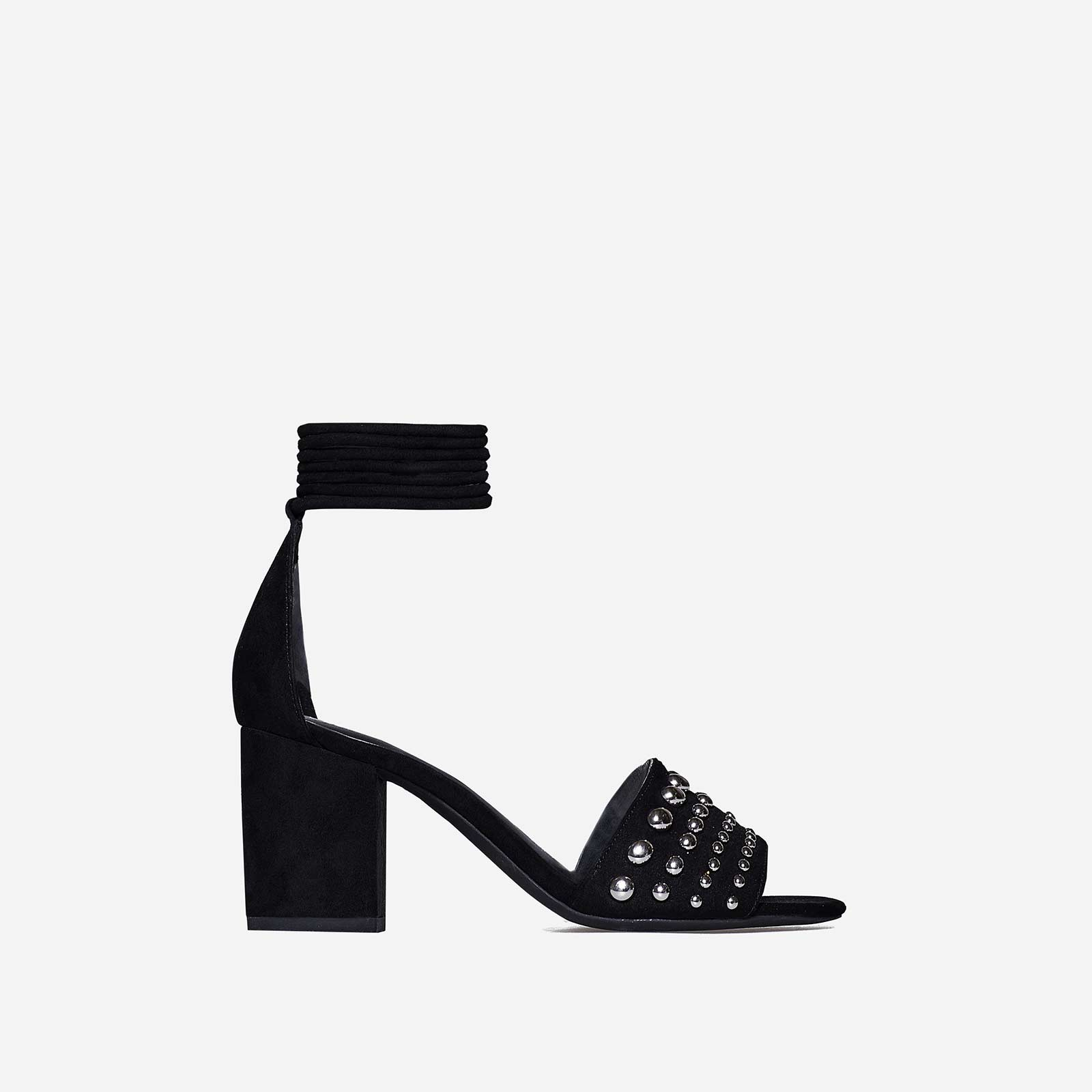Roma Studded Detail Lace Up Mid Block Heel In Black Faux Suede