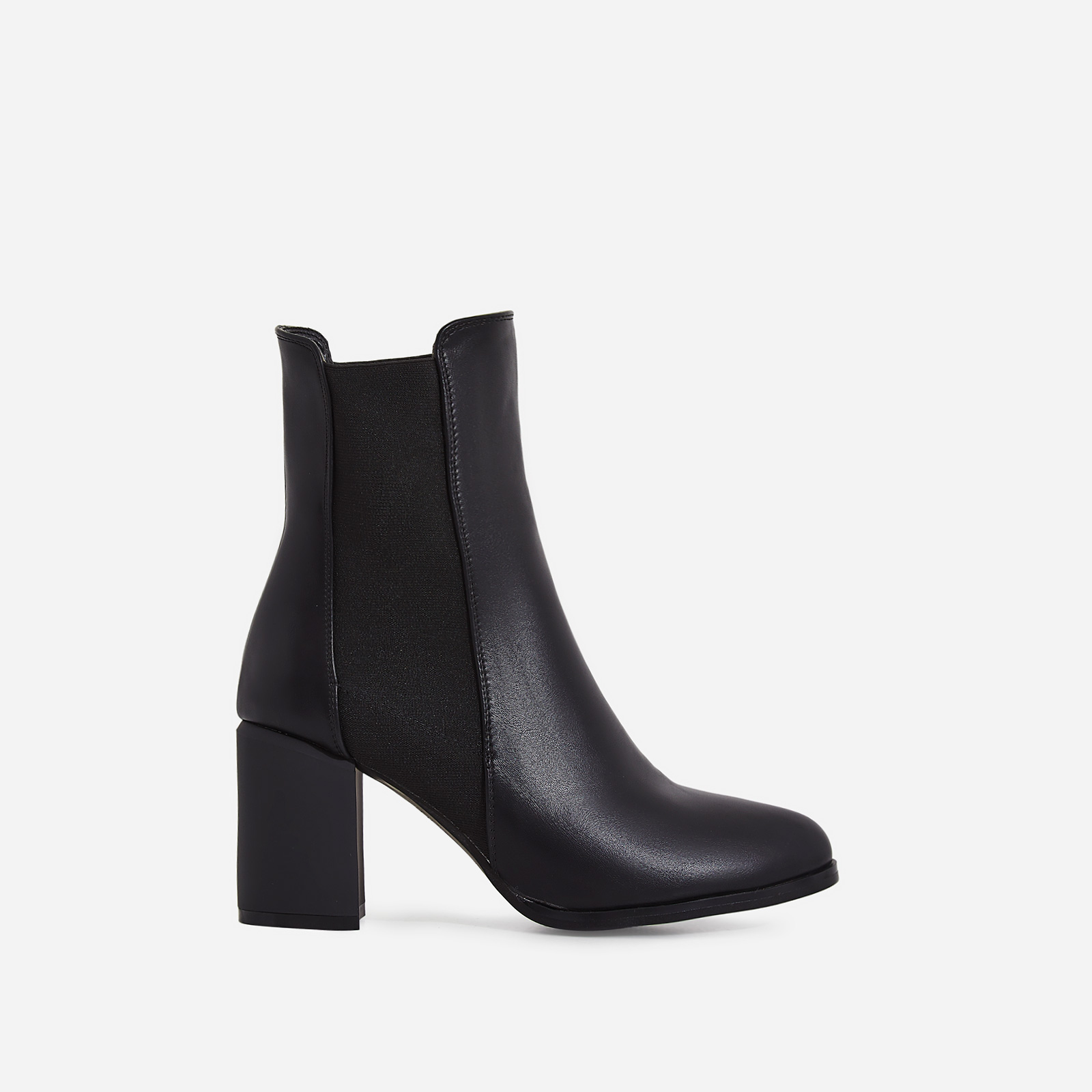 Runa Elasticated Block Heel Ankle Boot In Black Faux Leather
