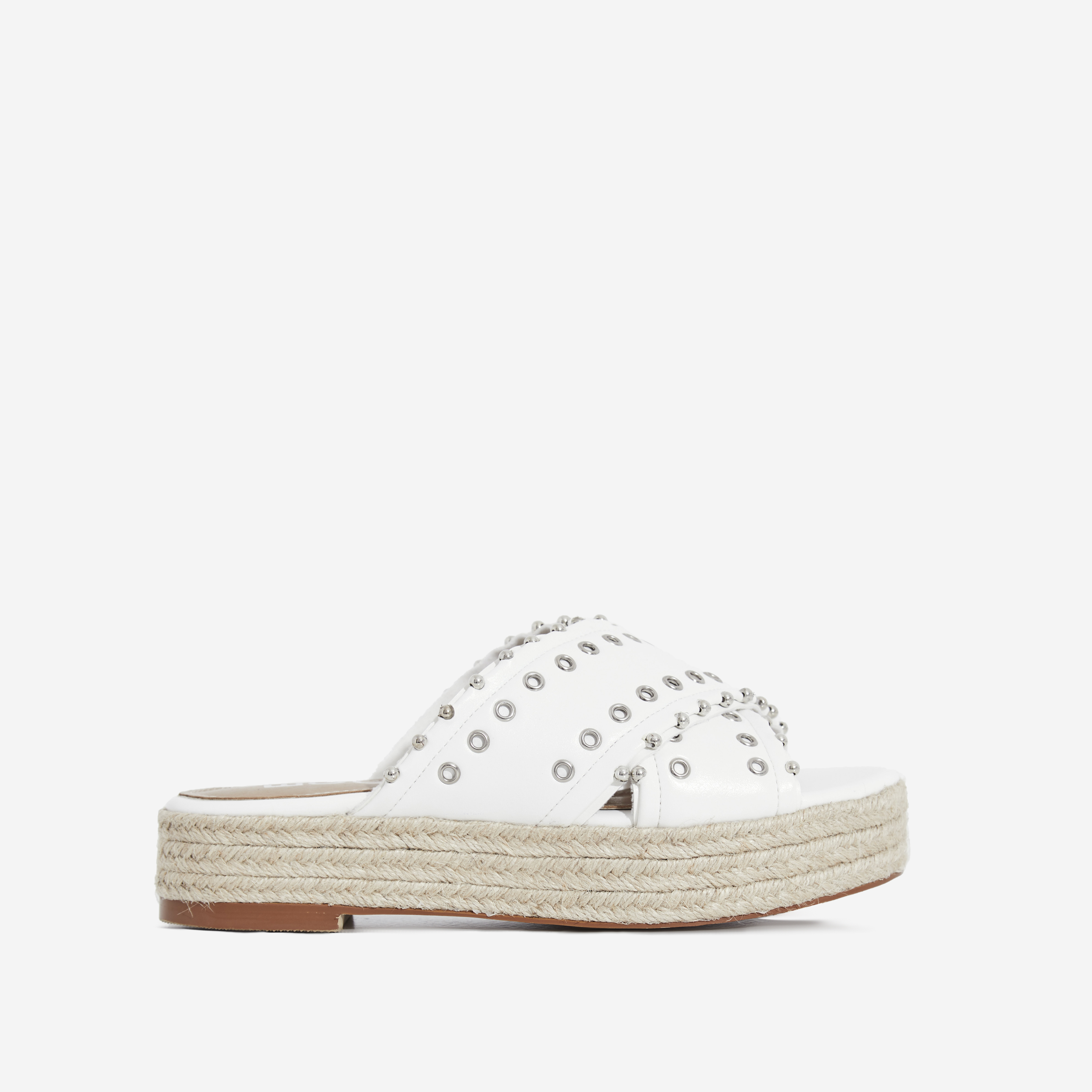 Salina Studded Crossover Strap Espadrille Sandal In White Faux Leather