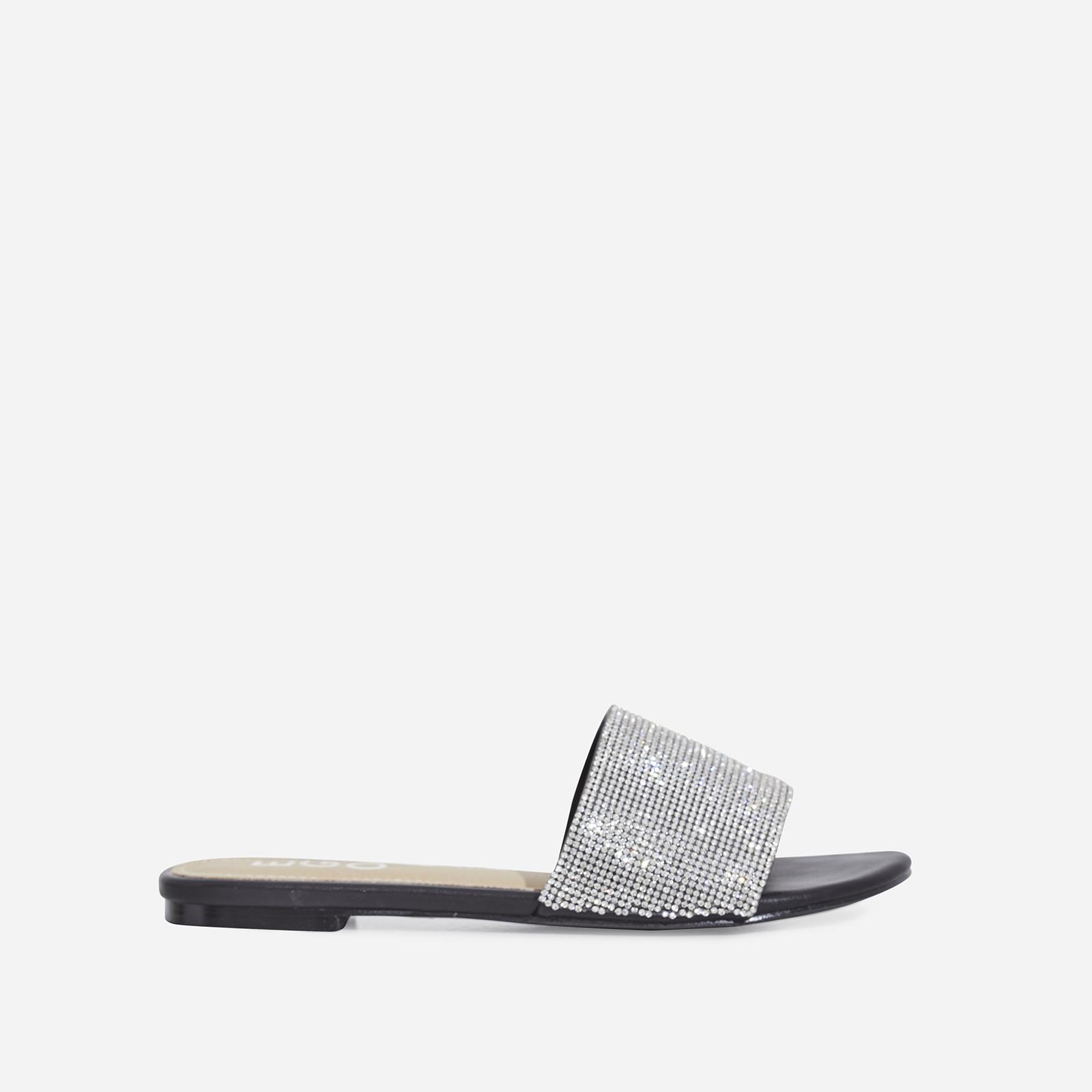 Samaya Diamante Detail Slider In Black Faux Leather