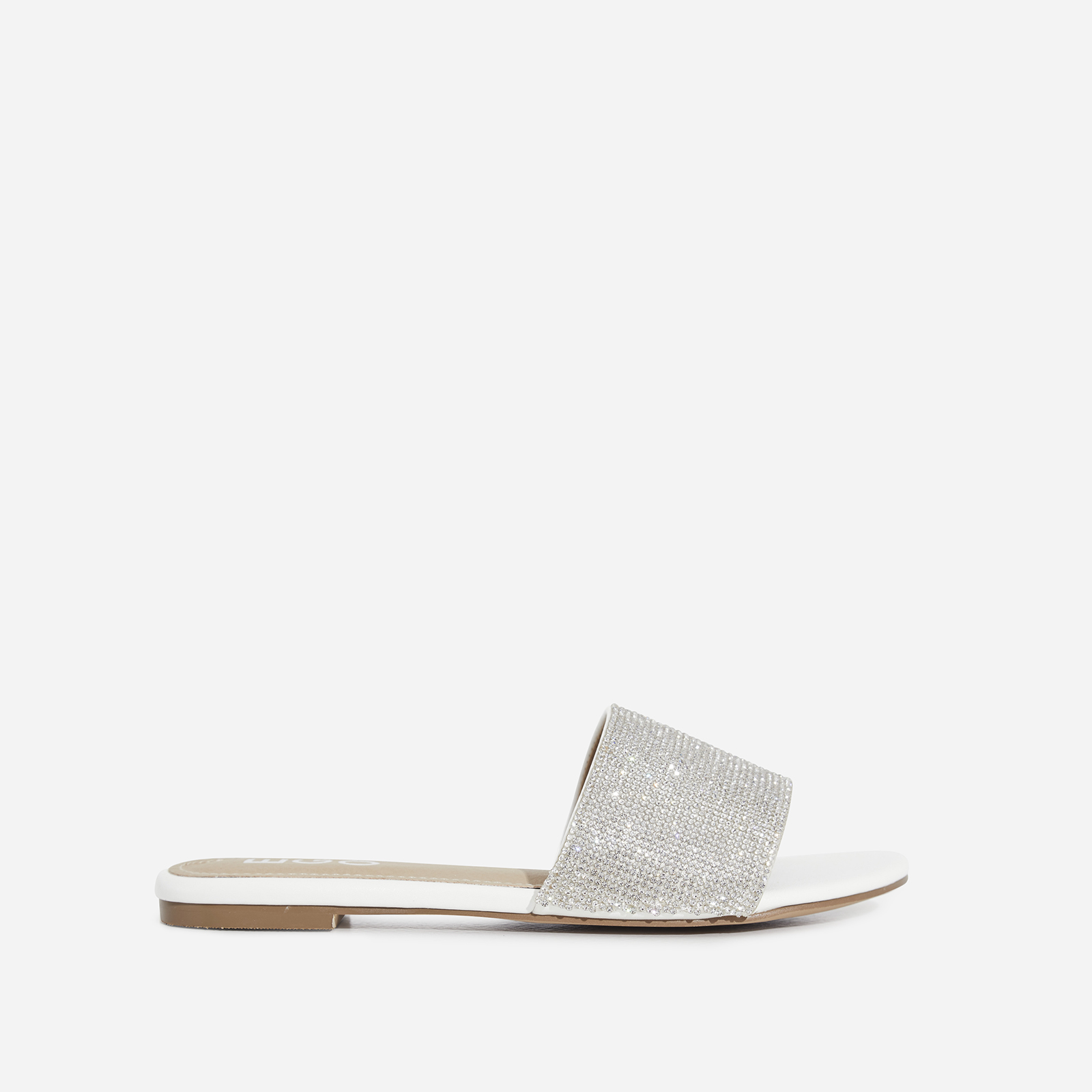 Samaya Diamante Detail Slider In White Faux Leather