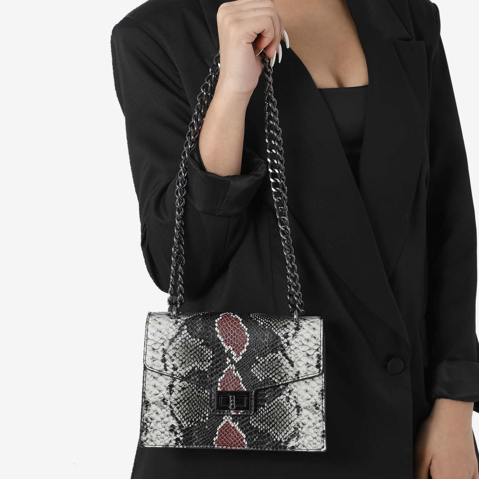 Chain Detail Cross Body Bag In Black And Red Snake Print Faux Leather