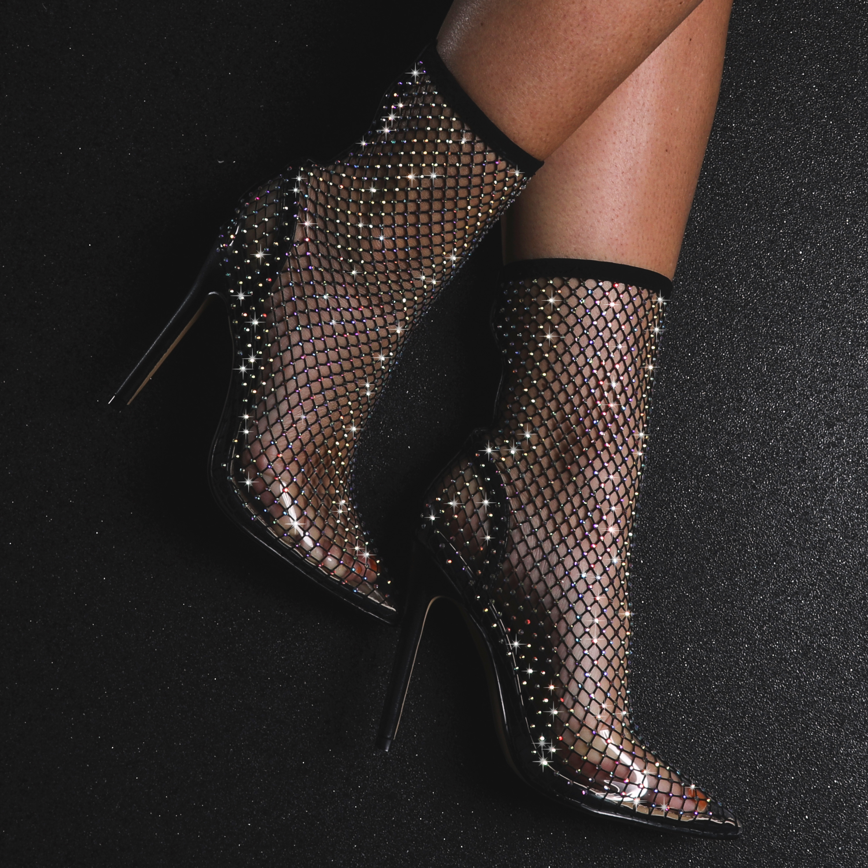 Vakili Multi Colour Diamante Detail Fishnet Heel In Black