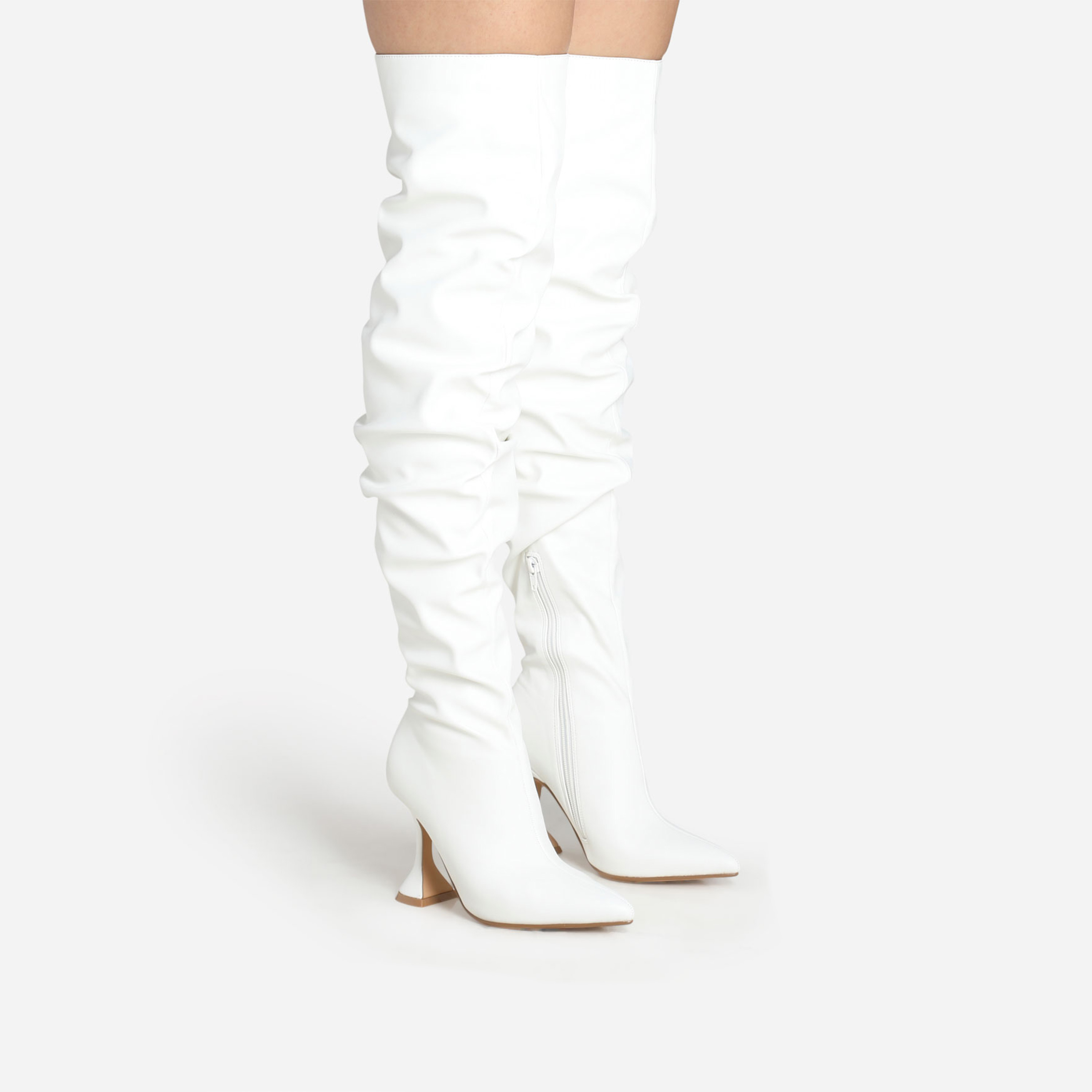 Flight Pyramid Heel Slouched Over The Knee Thigh High Long Boot In White Faux Leather