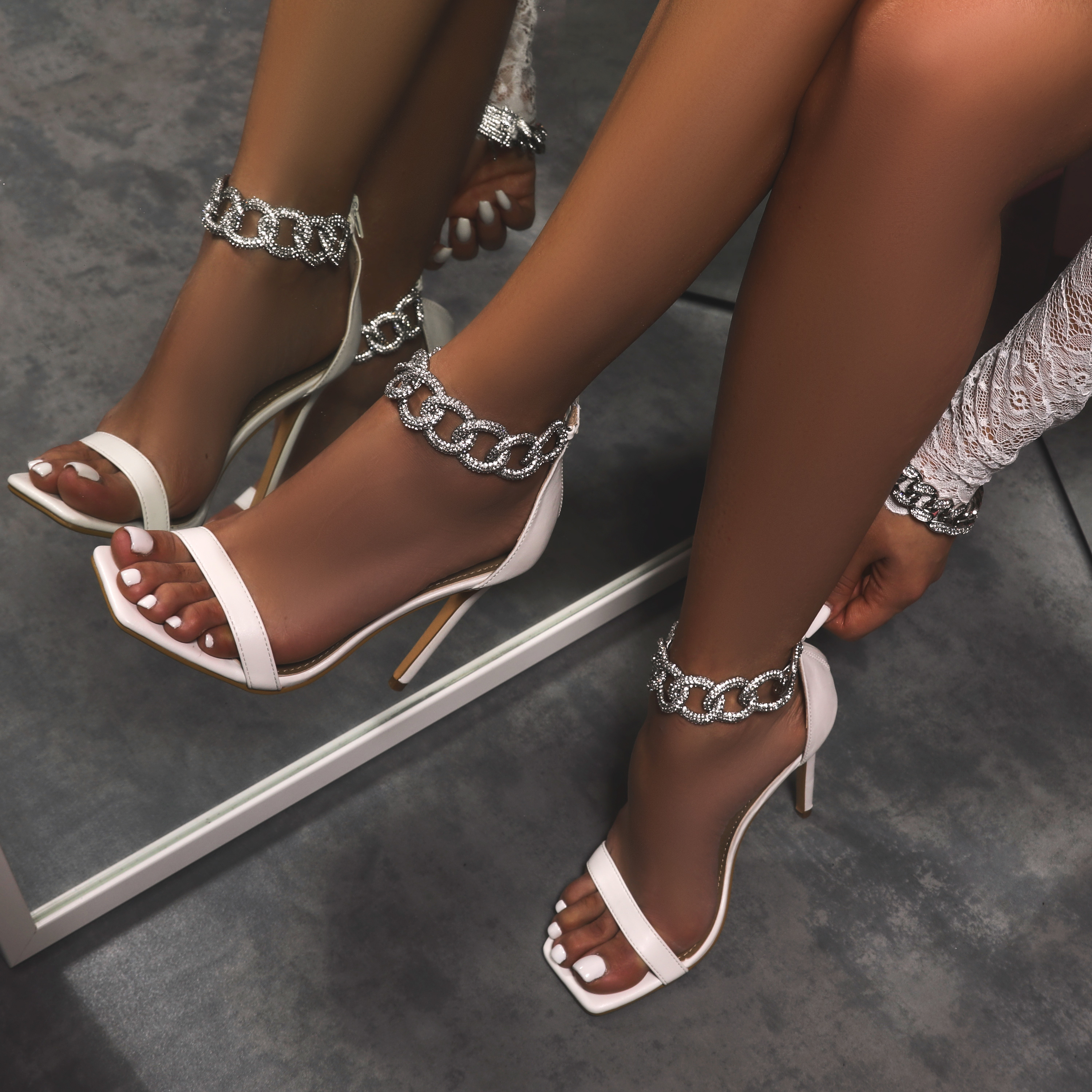 Barbie Diamante Chain Detail Square Toe Heel In White Faux Leather