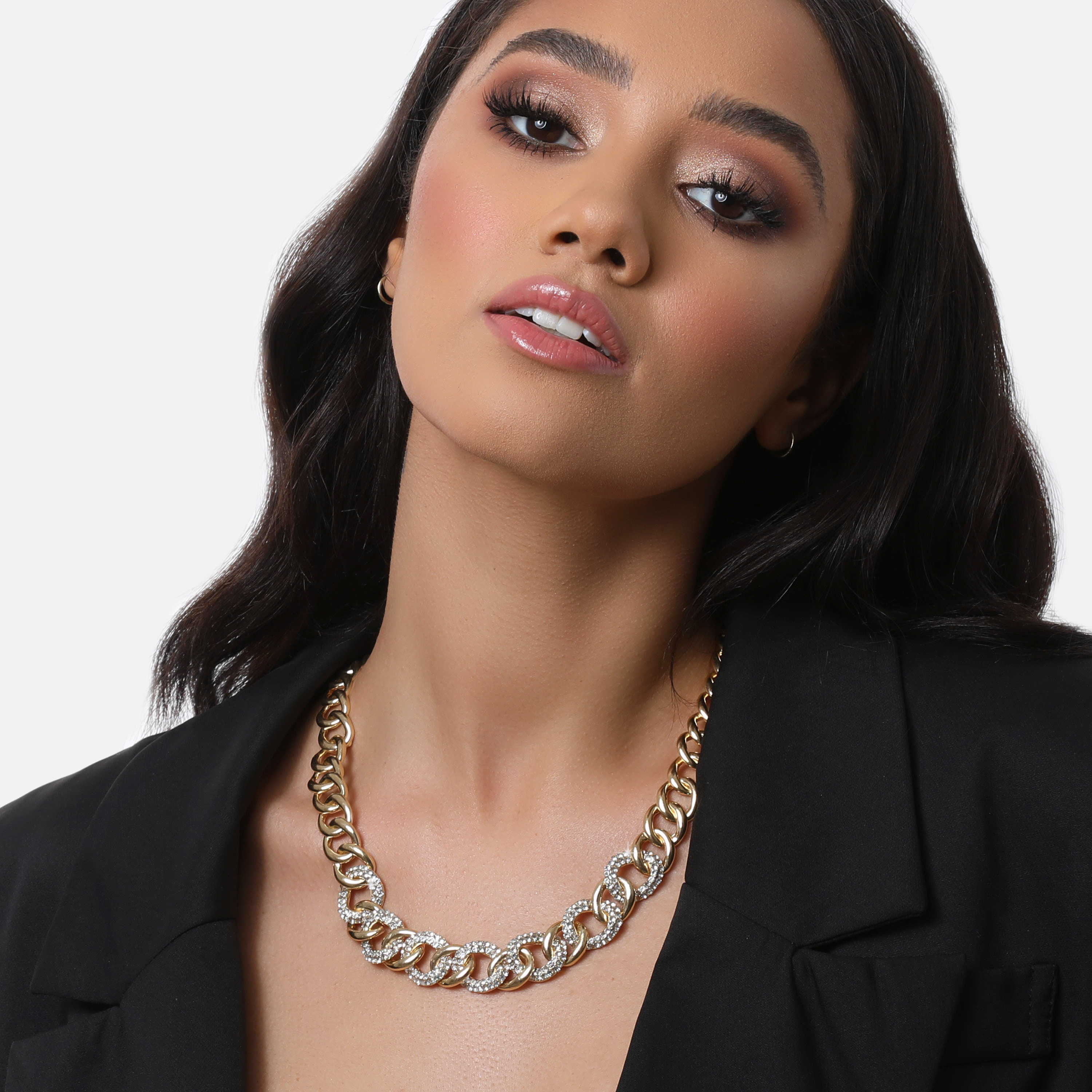 Diamante Chain Link Necklace In Silver
