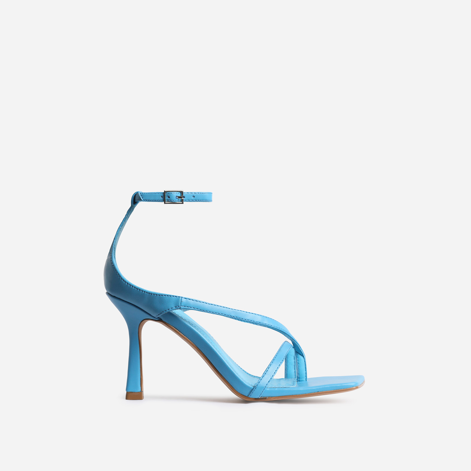 Eve Square Toe Strappy Heel In Blue Faux Leather
