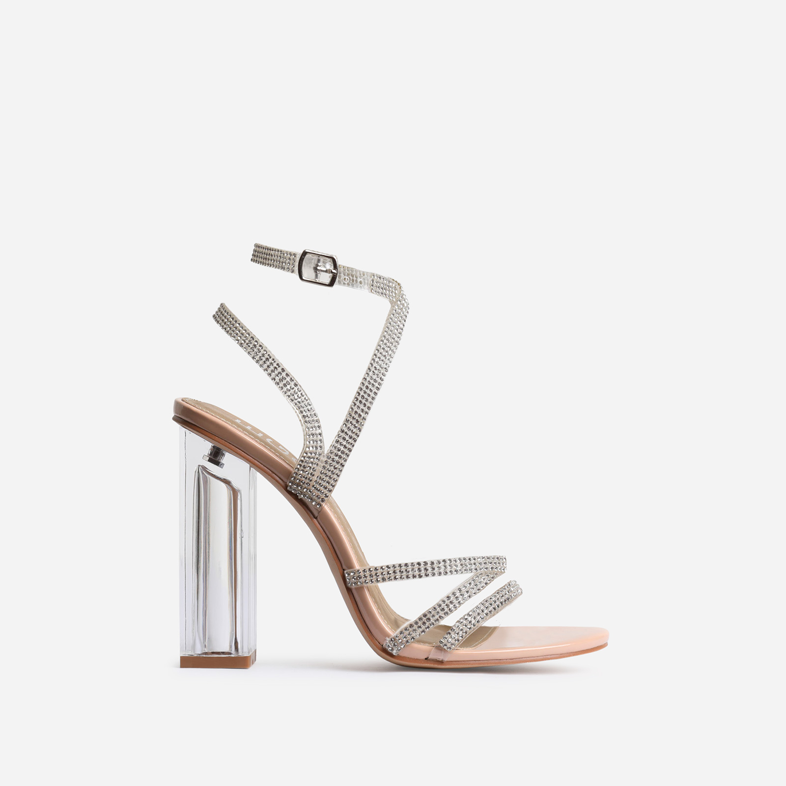 Dash Diamante Detail Perspex Block Heel In Nude Patent