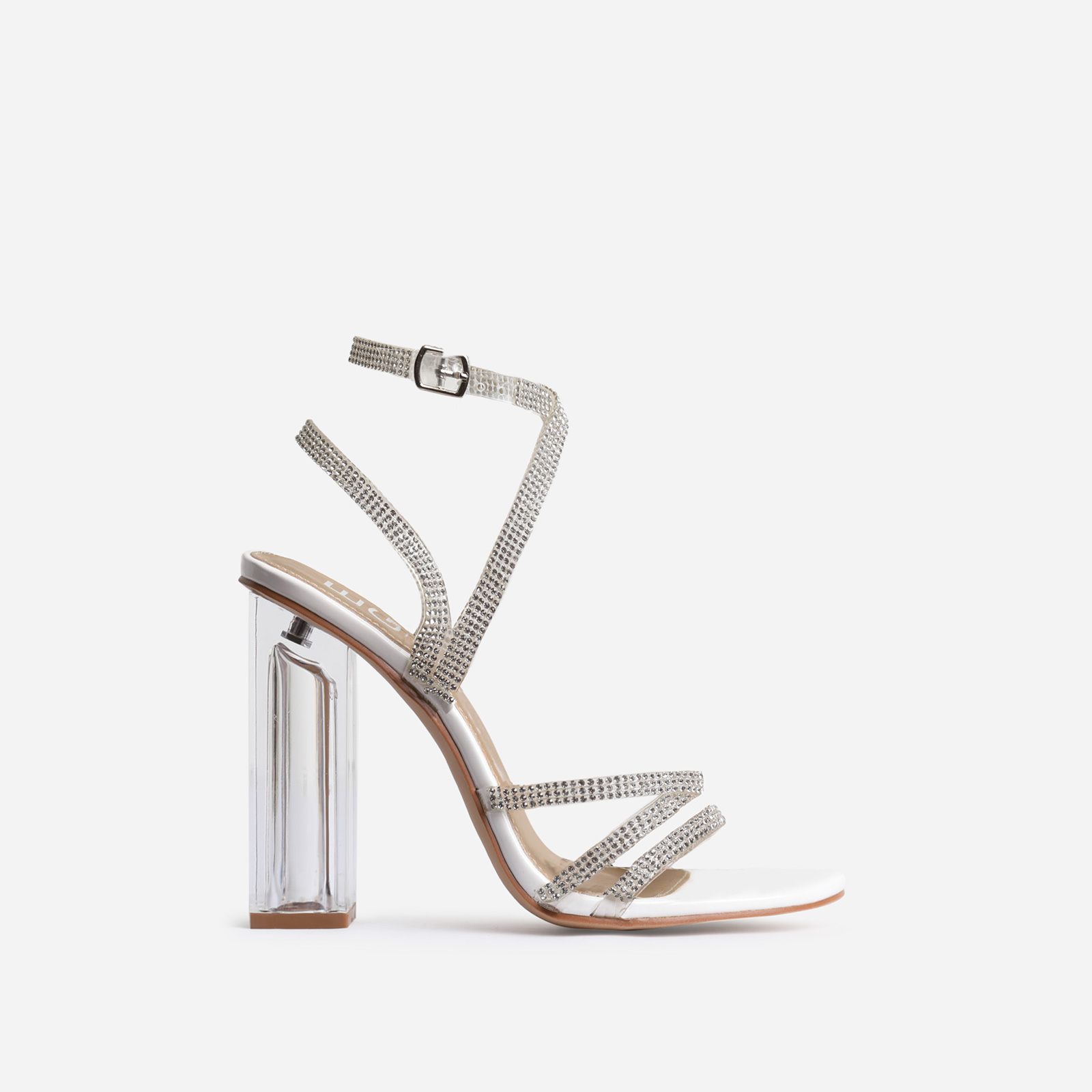 Dash Diamante Detail Perspex Block Heel In White Patent