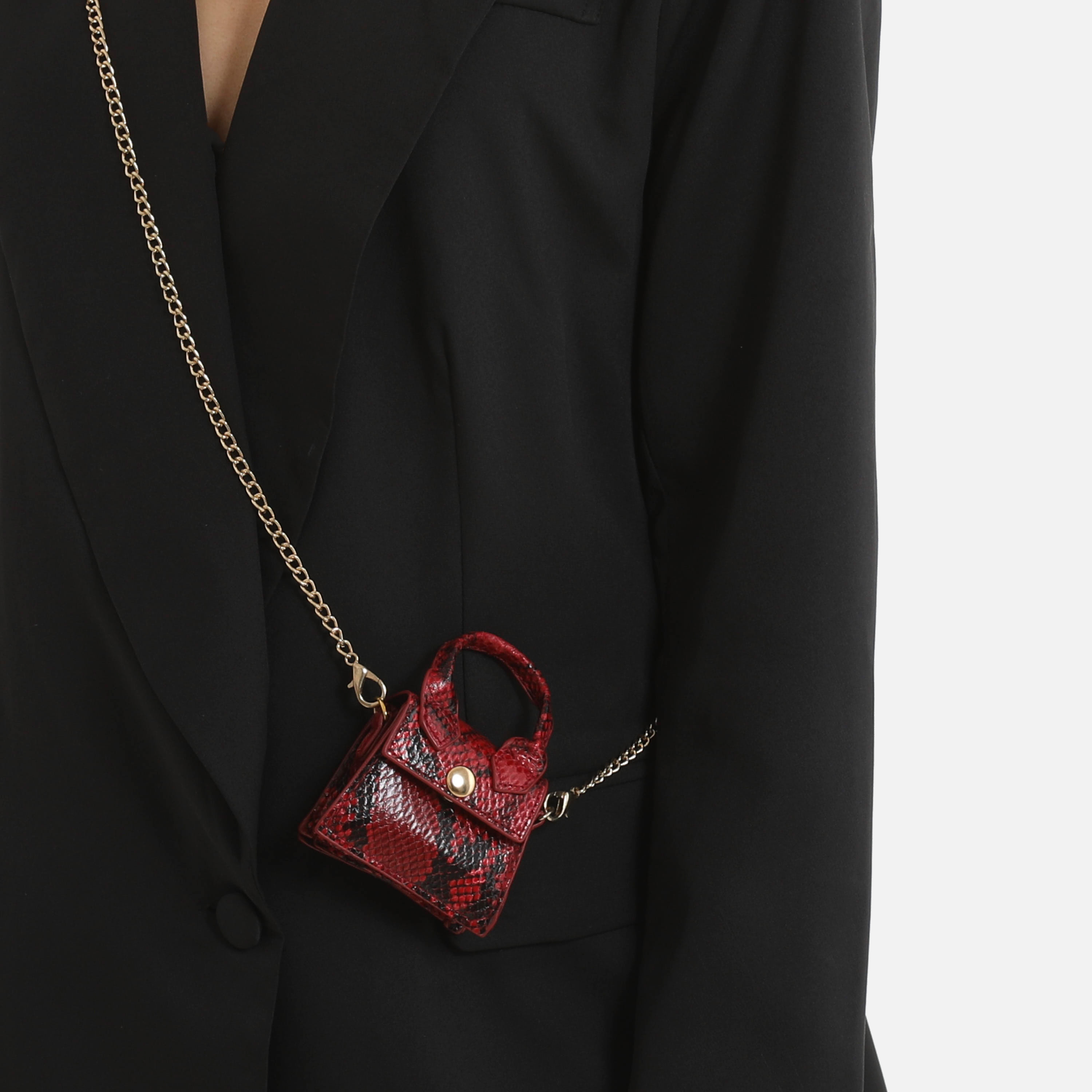 Micro Grab Bag In Red Snake Print Faux Leather