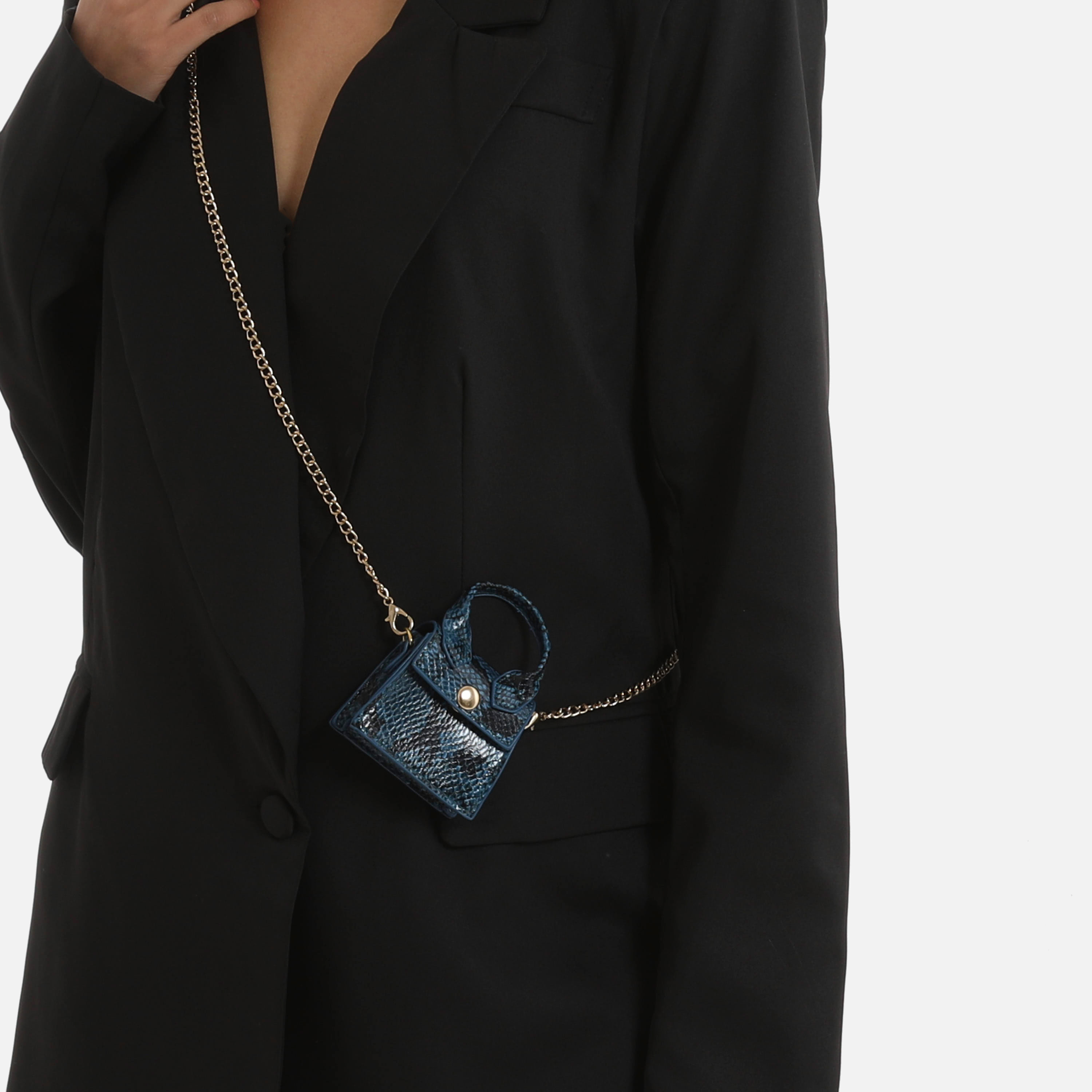 Micro Grab Bag In Blue Snake Print Faux Leather