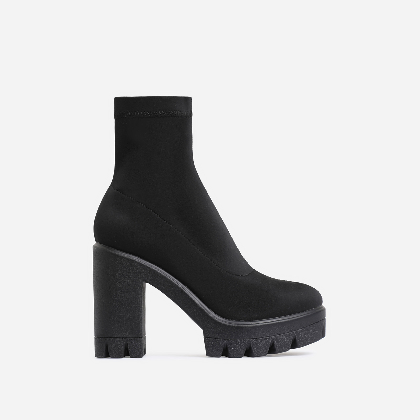 Kaila Chunky Sole Block Heel Ankle Sock Boot In Black Lycra