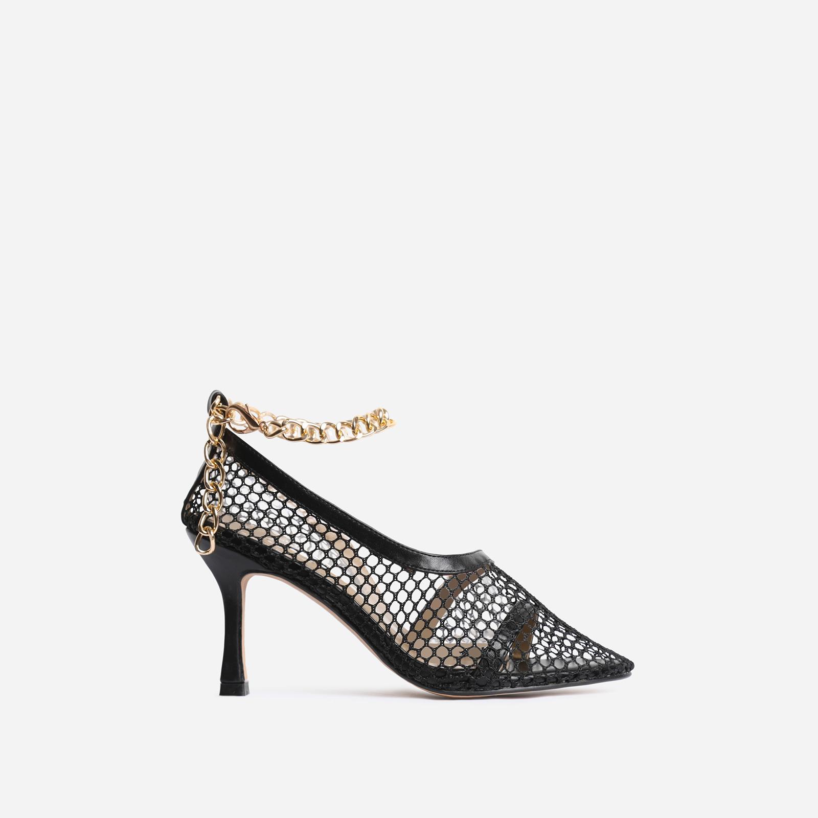 Winnie Chain Detail Fishnet Court Kitten Heel In Black Faux Leather